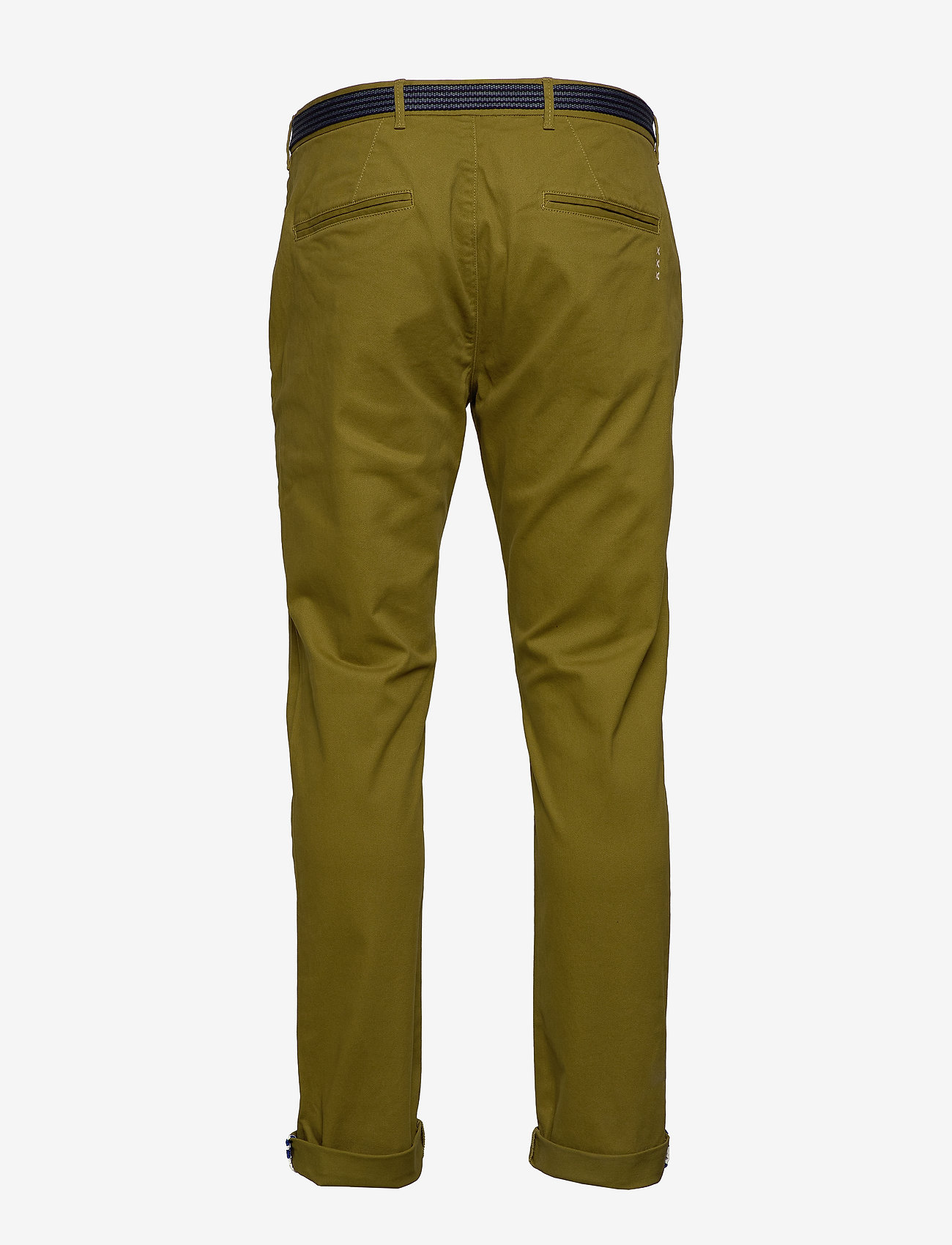 Scotch & Soda - Stuart peached twill chino with give away belt - chinos - military green - 1