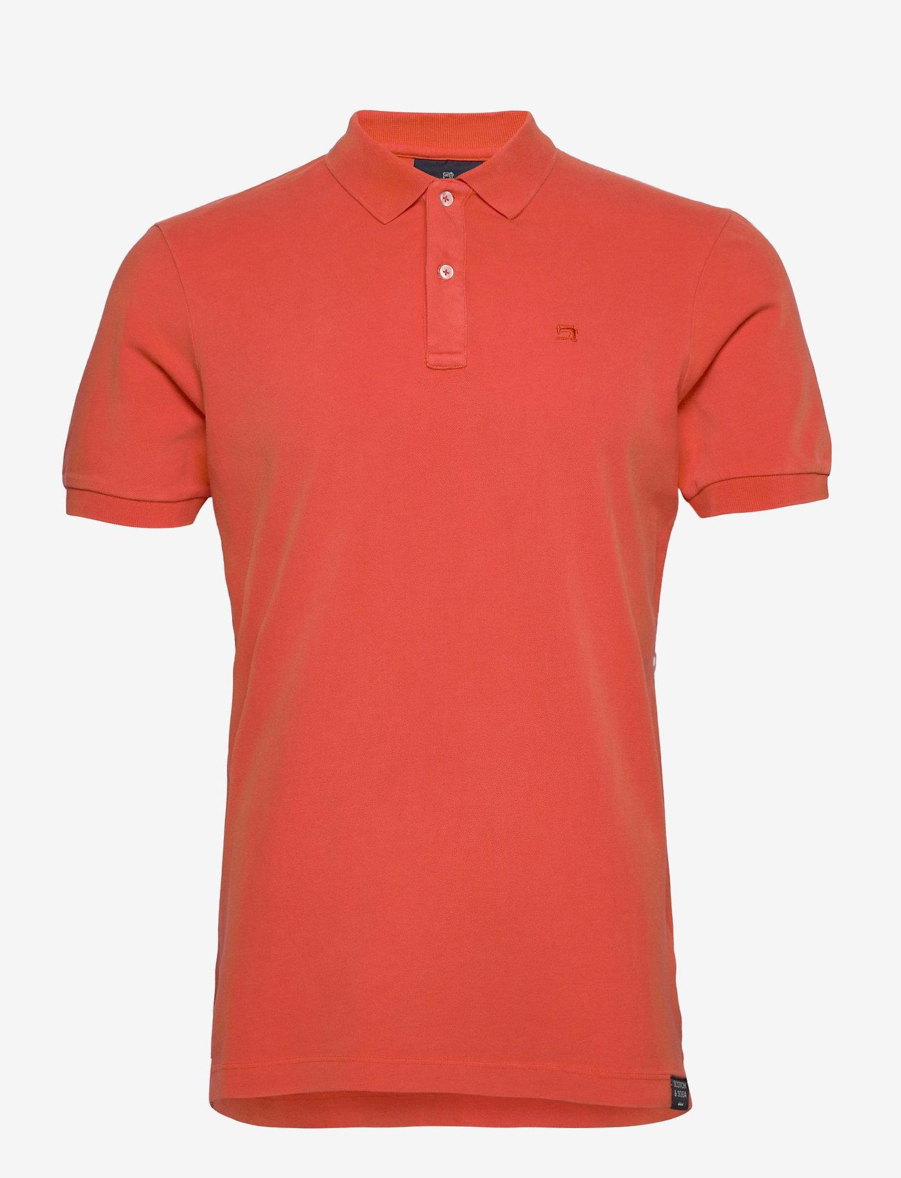 Scotch & Soda - Garment dyed stretch polo - short-sleeved polos - orange shell - 0