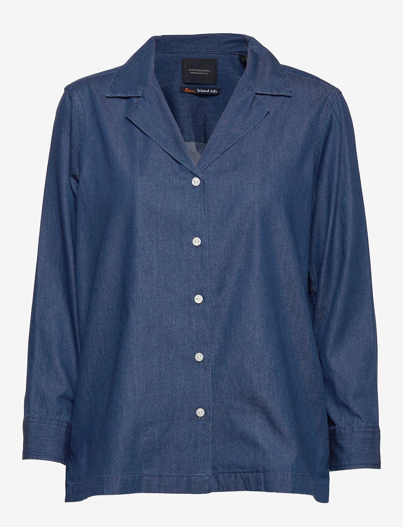 Scotch & Soda - Ams Blauw chic denim shirt with island collar - chemises en jeans - indigo - 0