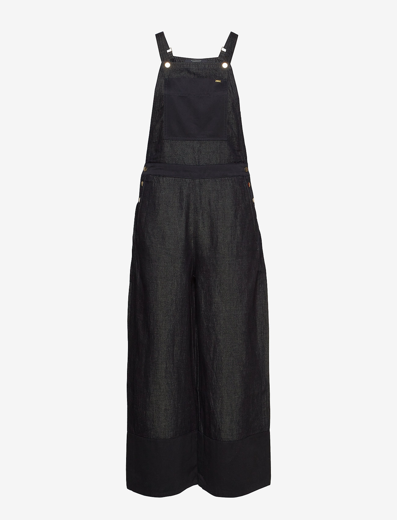 Scotch & Soda - Ams Blauw Indigo dungaree in cotton linen fabric - combinaisons - back in nimes - 0