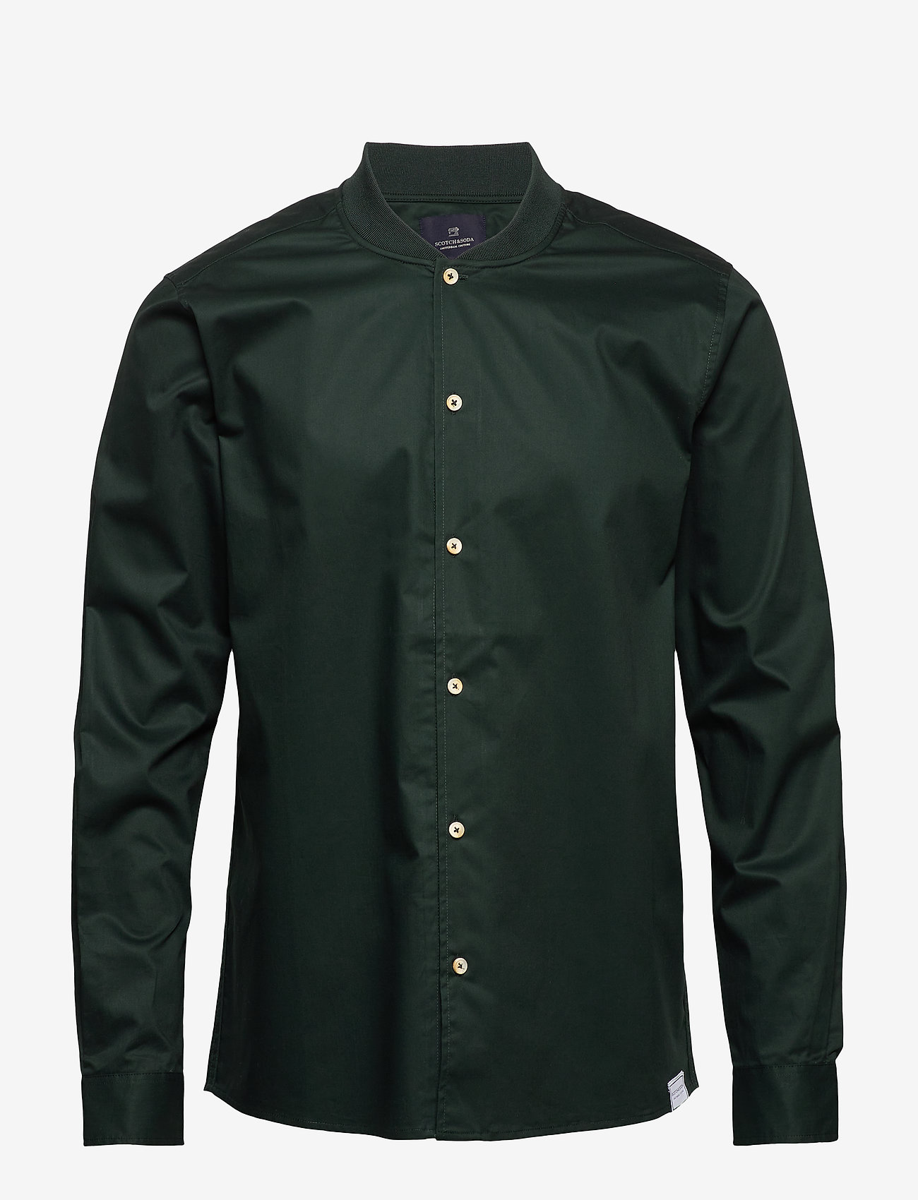 Scotch & Soda - Long sleeve shirt with bomber collar - overshirts - lagoon green - 0