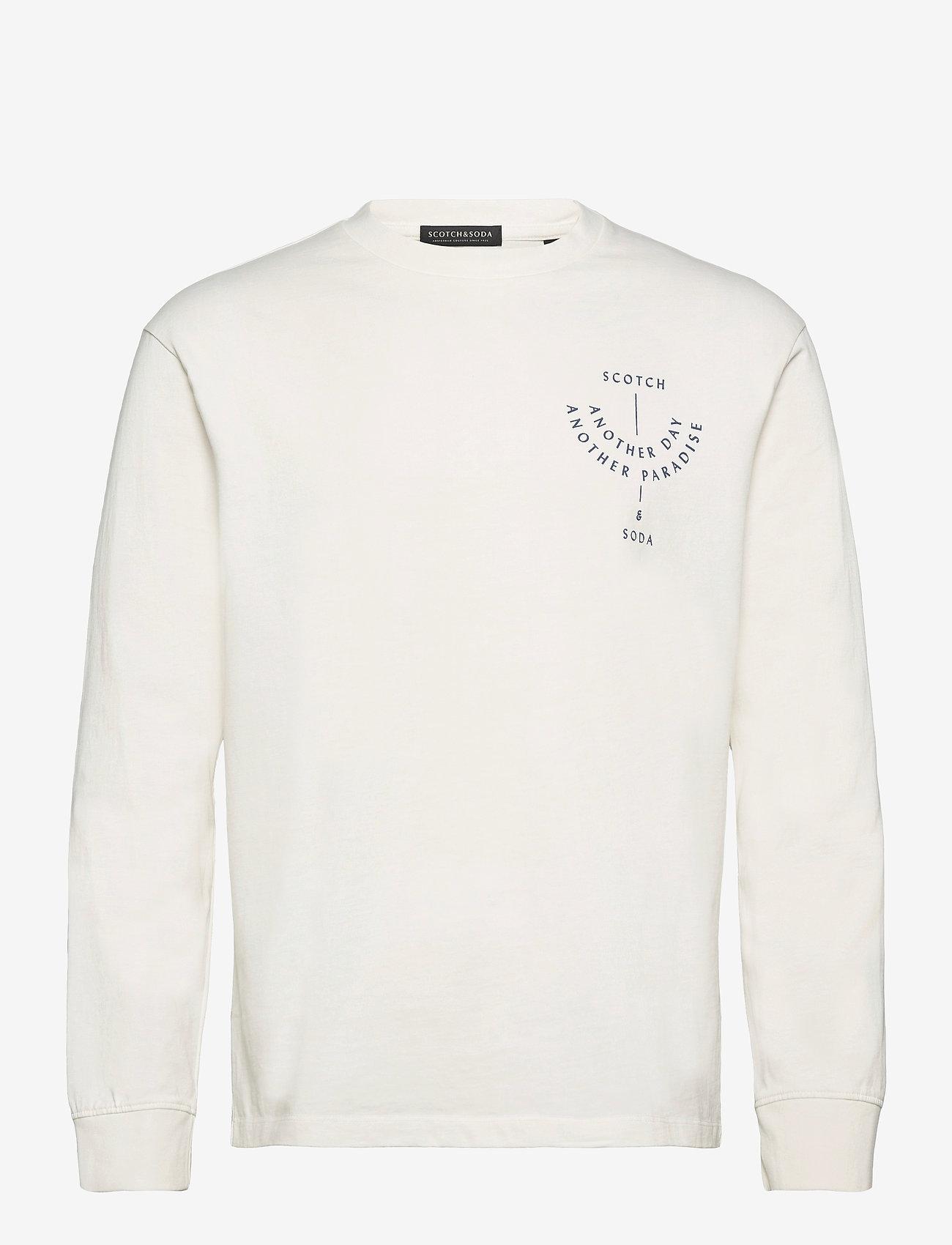 Scotch & Soda - Organic cotton-jersey longsleeve artwork tee - podstawowe koszulki - denim white - 0