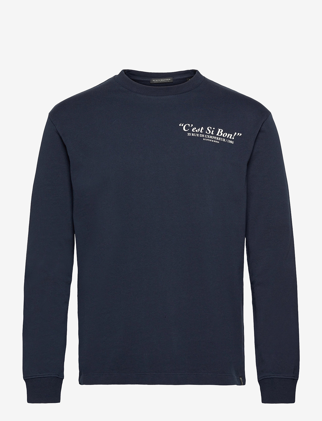 Scotch & Soda - Organic cotton-jersey longsleeve artwork tee - podstawowe koszulki - night - 0