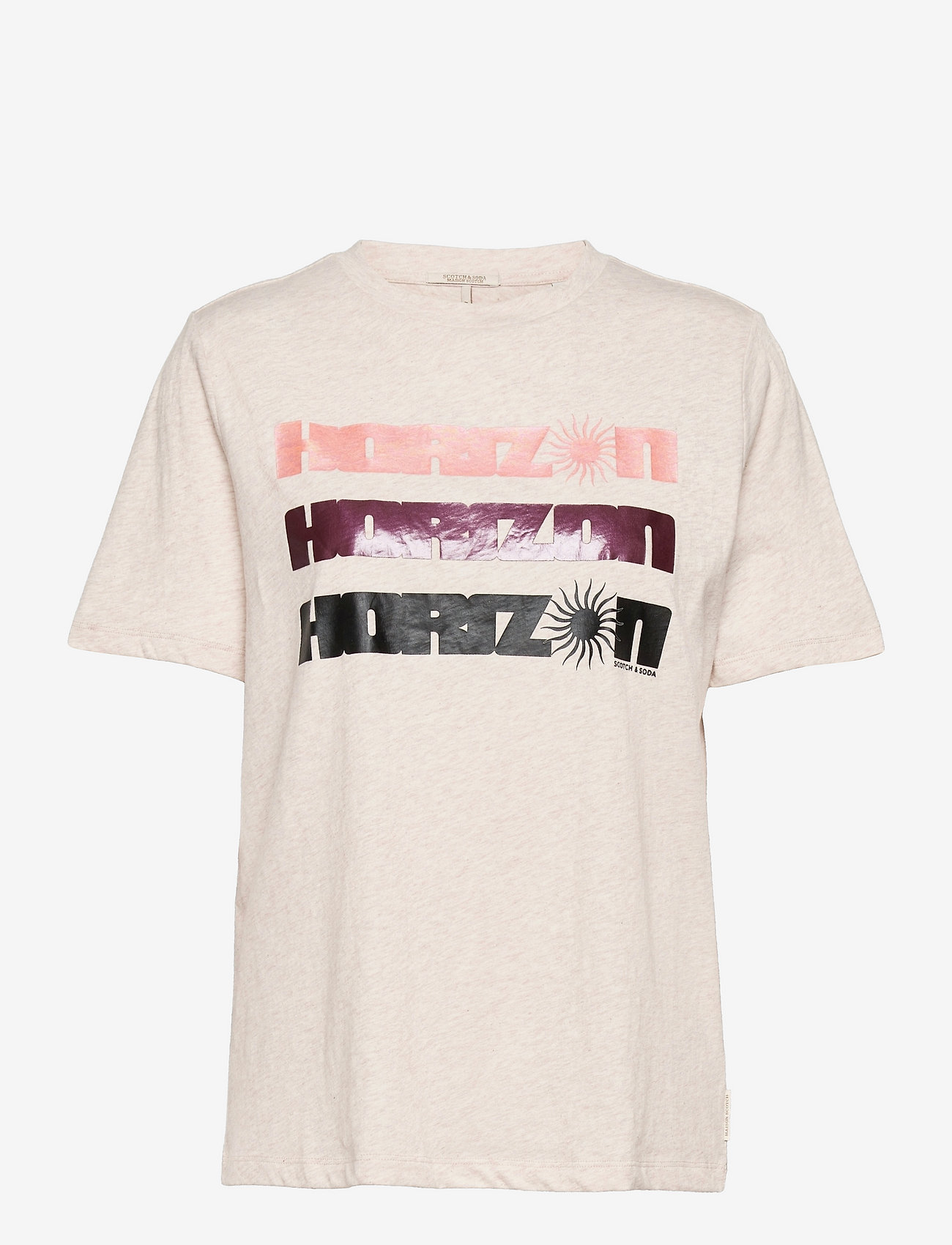 Scotch & Soda - Organic cotton tee with graphic - t-shirts - off white melange - 0
