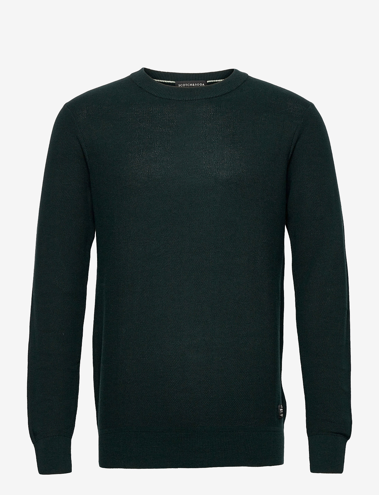 Scotch & Soda - Organic cotton crewneck pull in structured knit - basic gebreide truien - sea green - 0