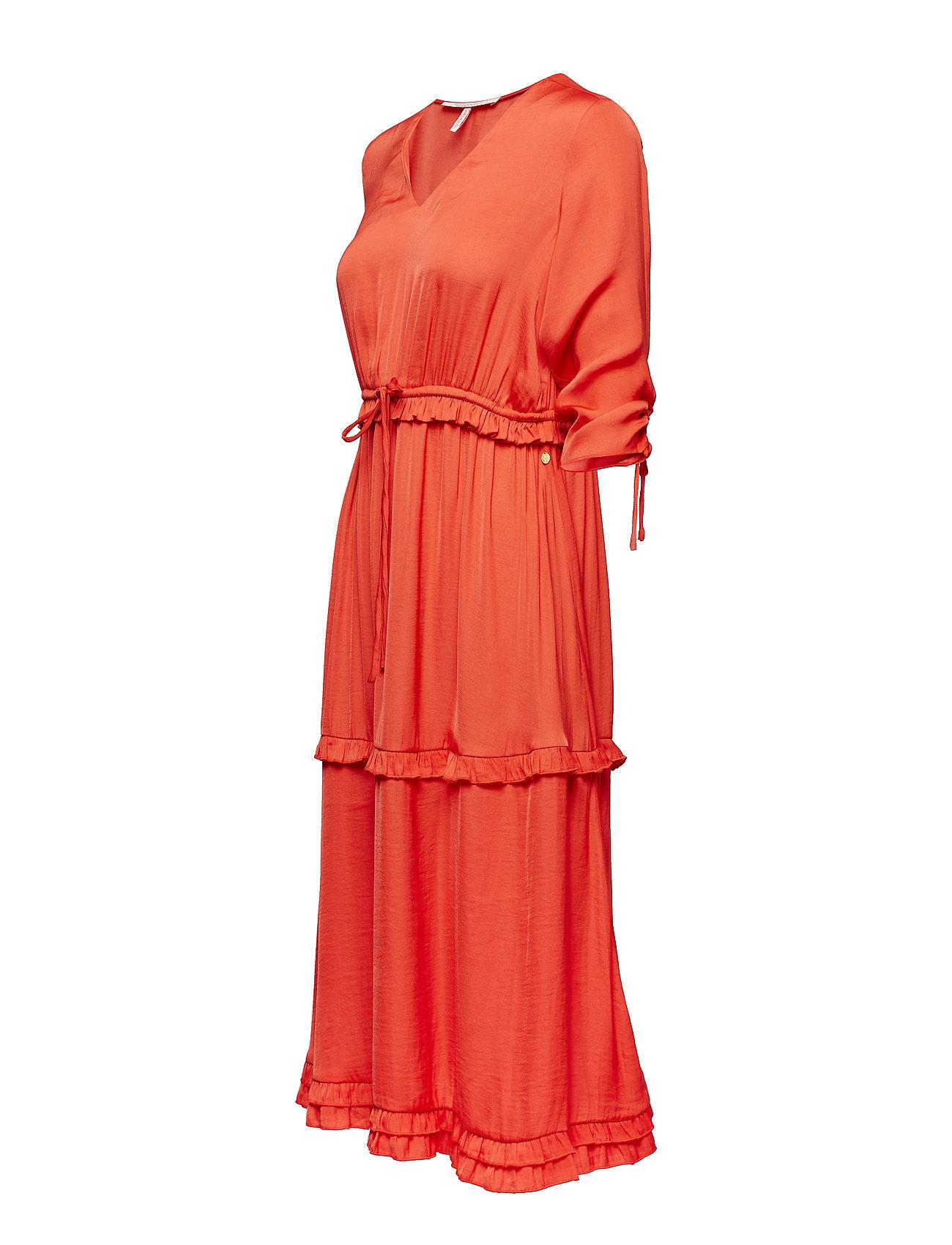 RufflescoralScotchamp; neck Dress Soda Length With Midi V And ZPOXiku