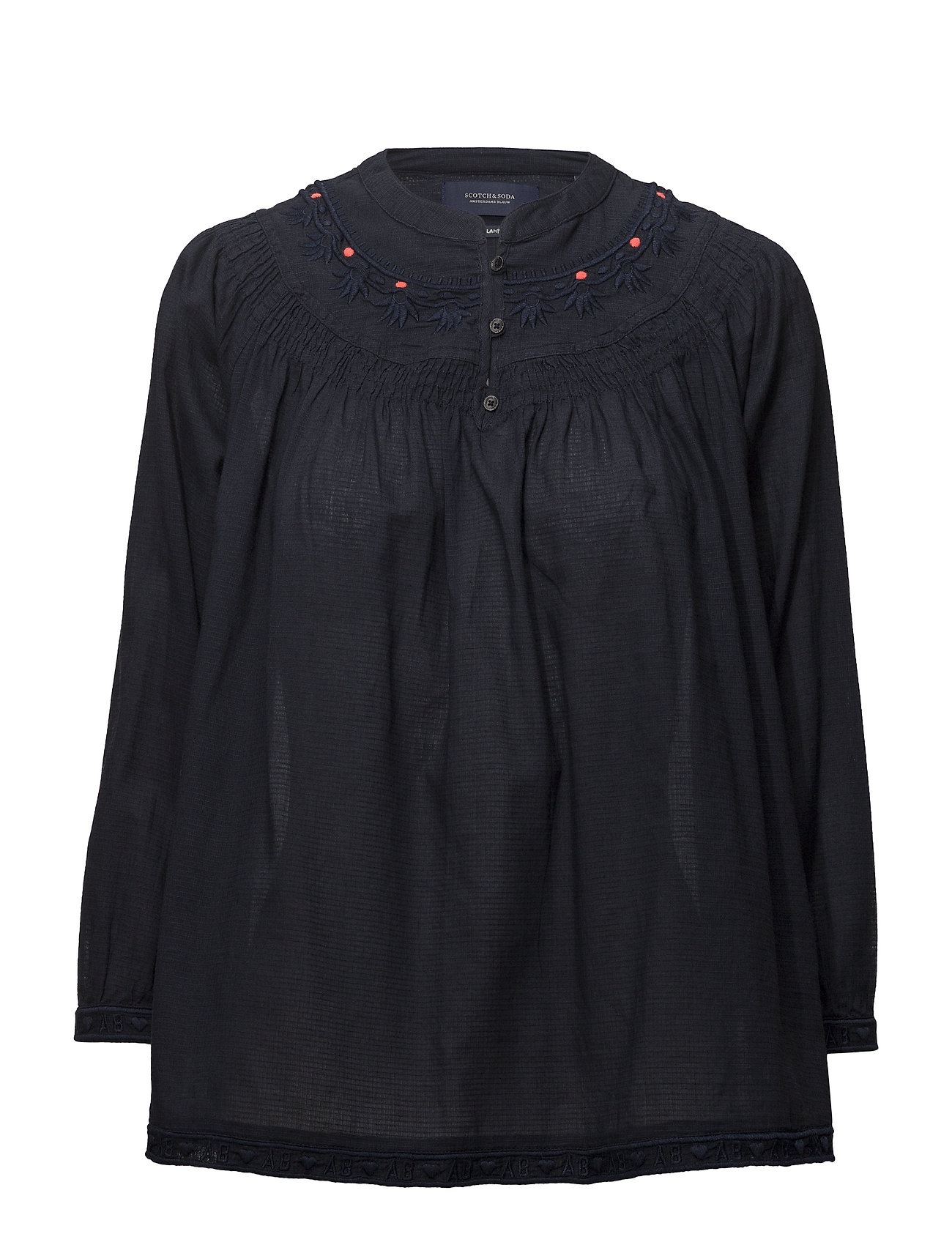 Scotch & Soda Woven top with subtle embroidery - NIGHT