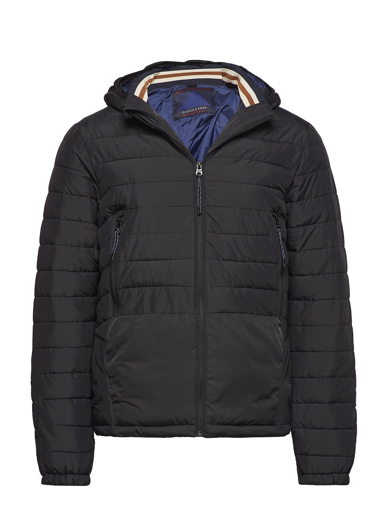 Image of Short Quilted Nylon Jacket With Detachable Hood Foret Jakke Blå Scotch & Soda (3066191879)