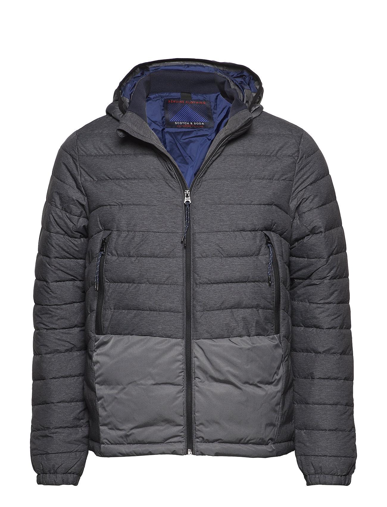 Scotch & Soda Short quilted nylon jacket with detachable hood - BLACK MELANGE
