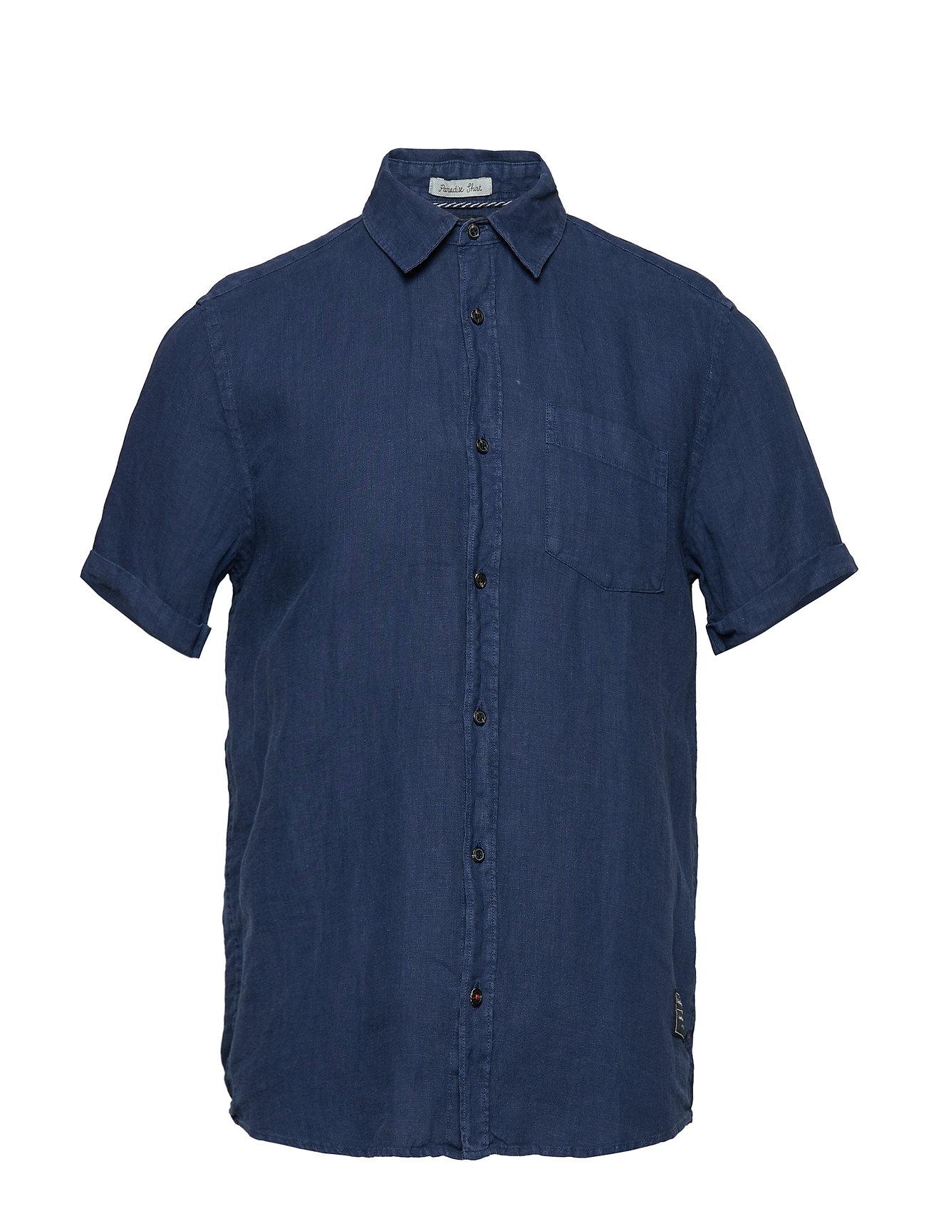 Scotch & Soda REGULAR FIT- Garment-dyed linen shortsleeve shirt - DENIM BLUE