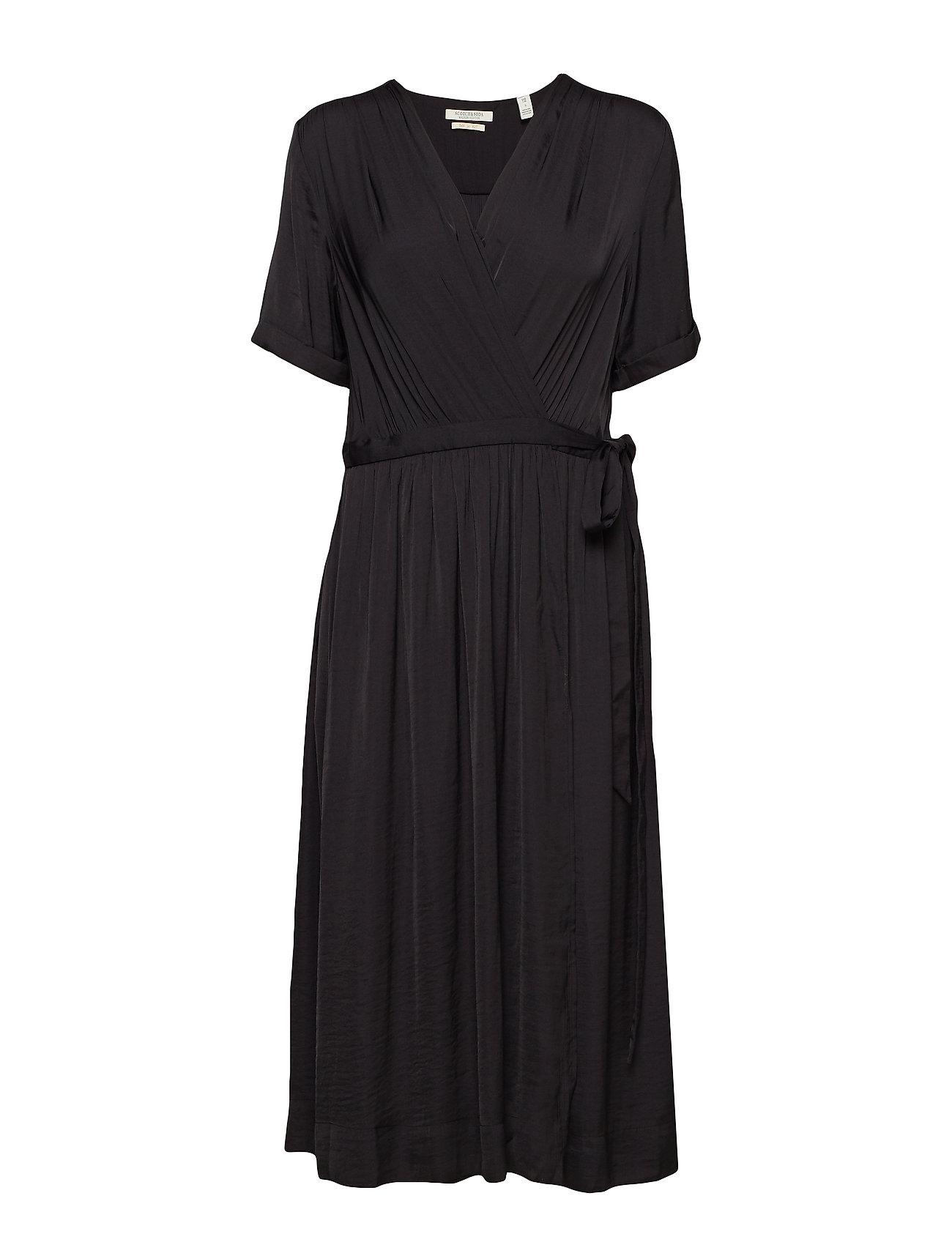 Scotch & Soda Midi length wrapover dress - BLACK