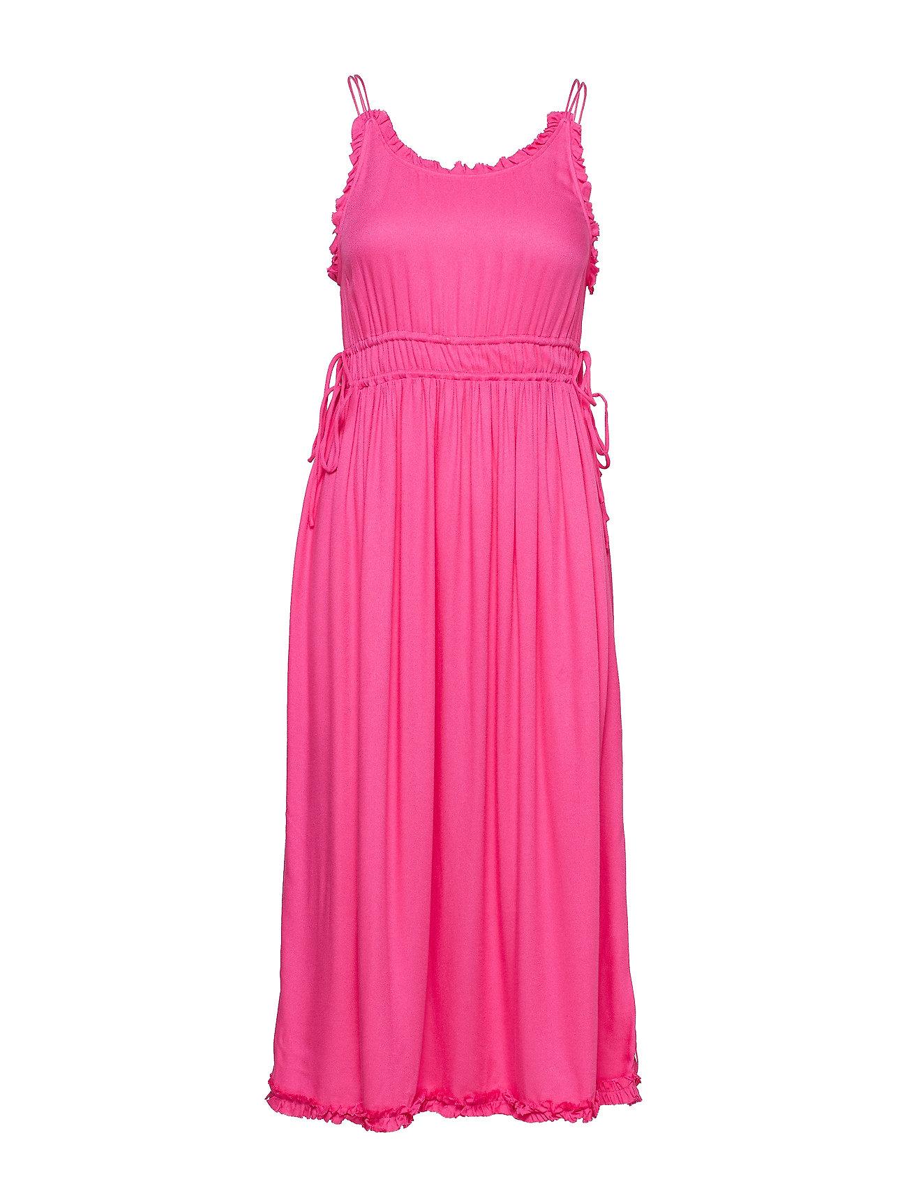 Scotch & Soda Viscose summer midi dress with straps - CANDY PINK