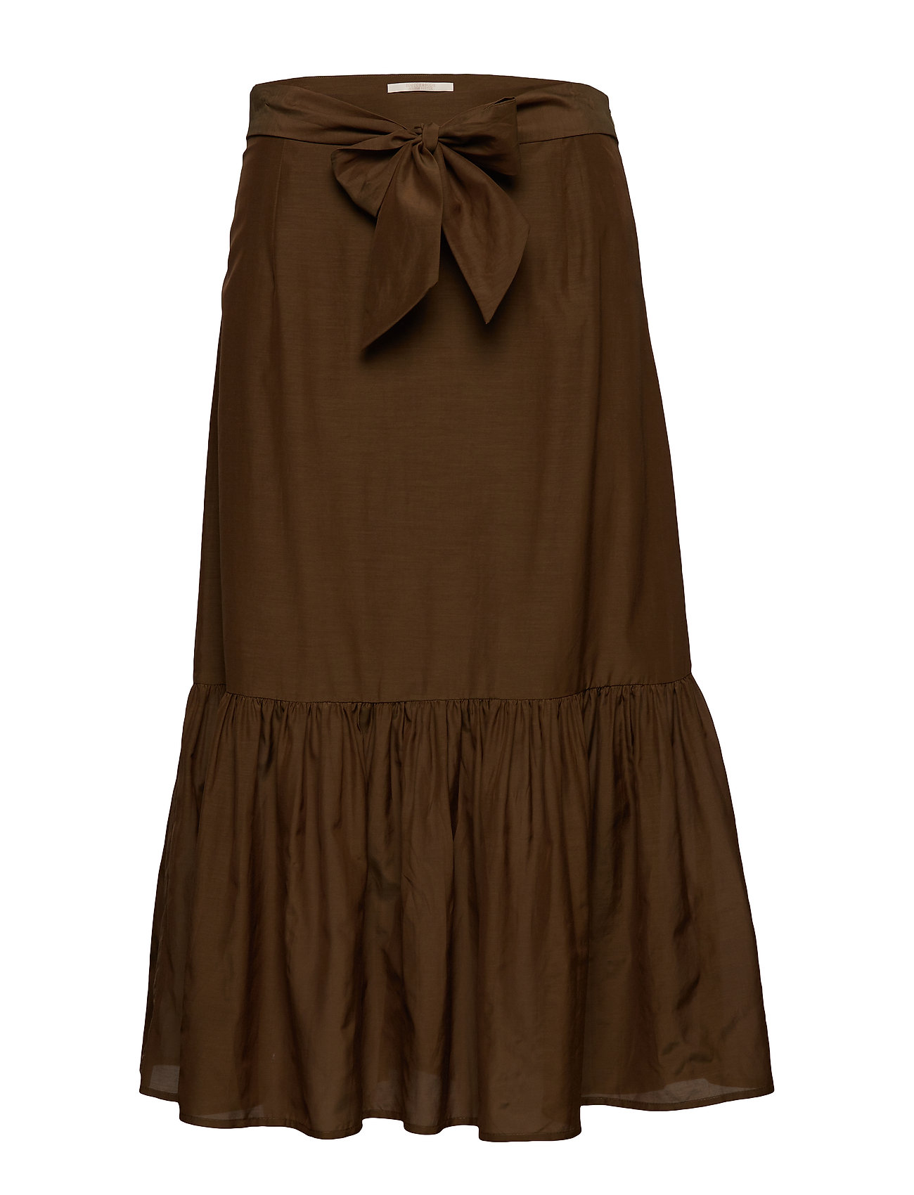 Scotch & Soda Belted midi length skirt in sheer viscose quality - MILITARY