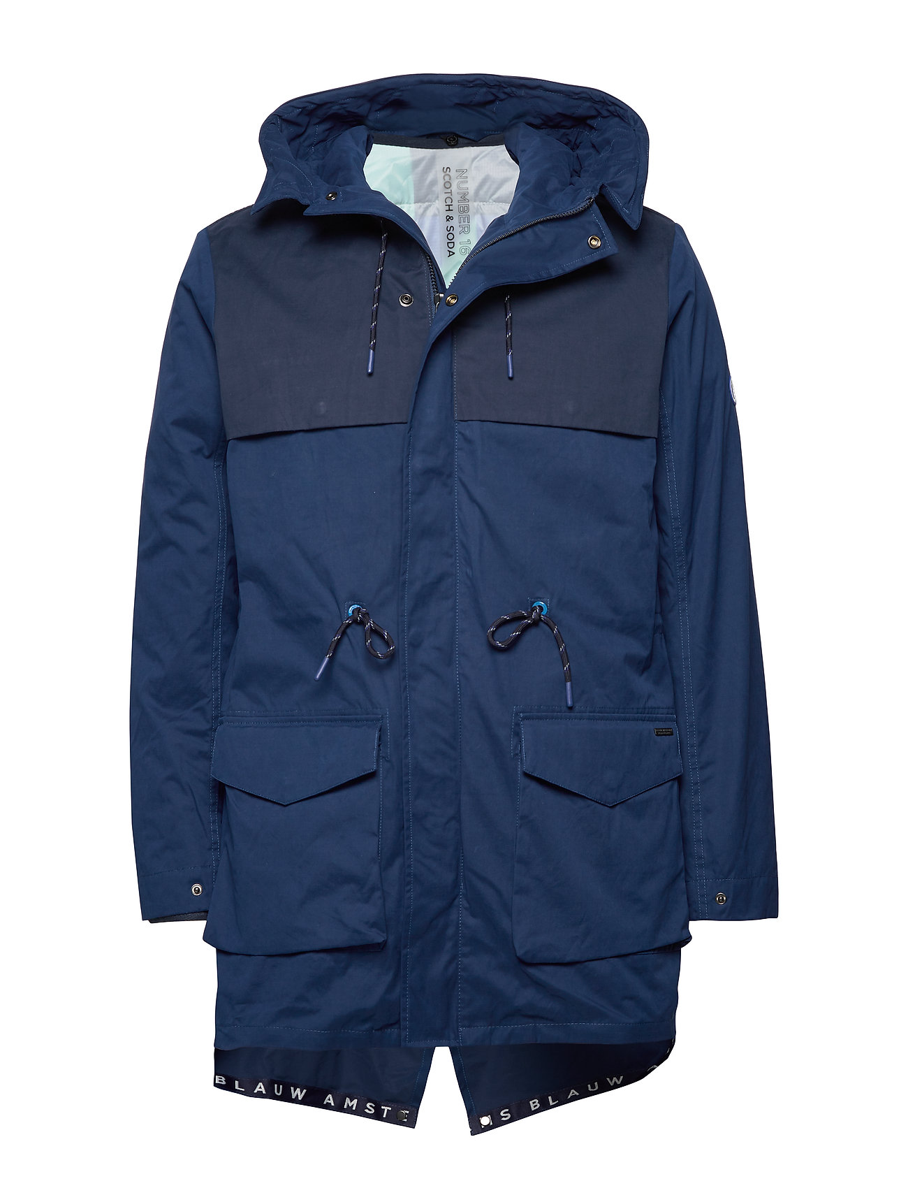Image of Ams Blauw Parka With Transparent Quilted Inner Jacket Parka Jakke Blå Scotch & Soda (3276941969)