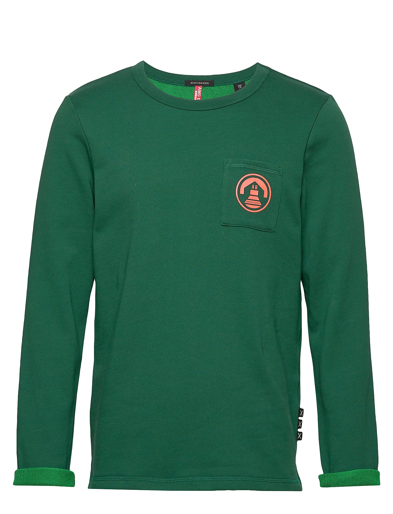 Scotch & Soda Crew neck sweat with chest pocket and contrast loops - GREEN DREAM