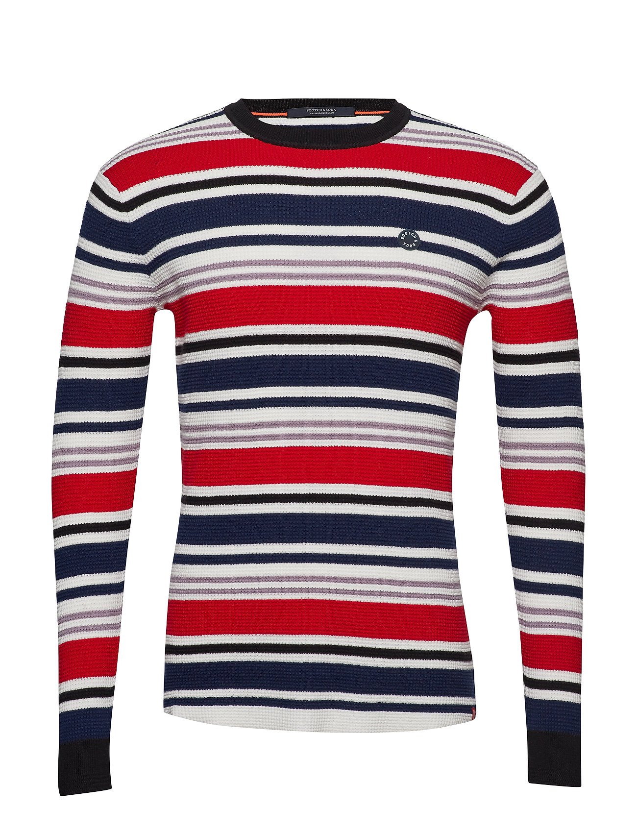 Scotch & Soda Longsleeve tee in 3D waffle with deck chair stripes - COMBO A