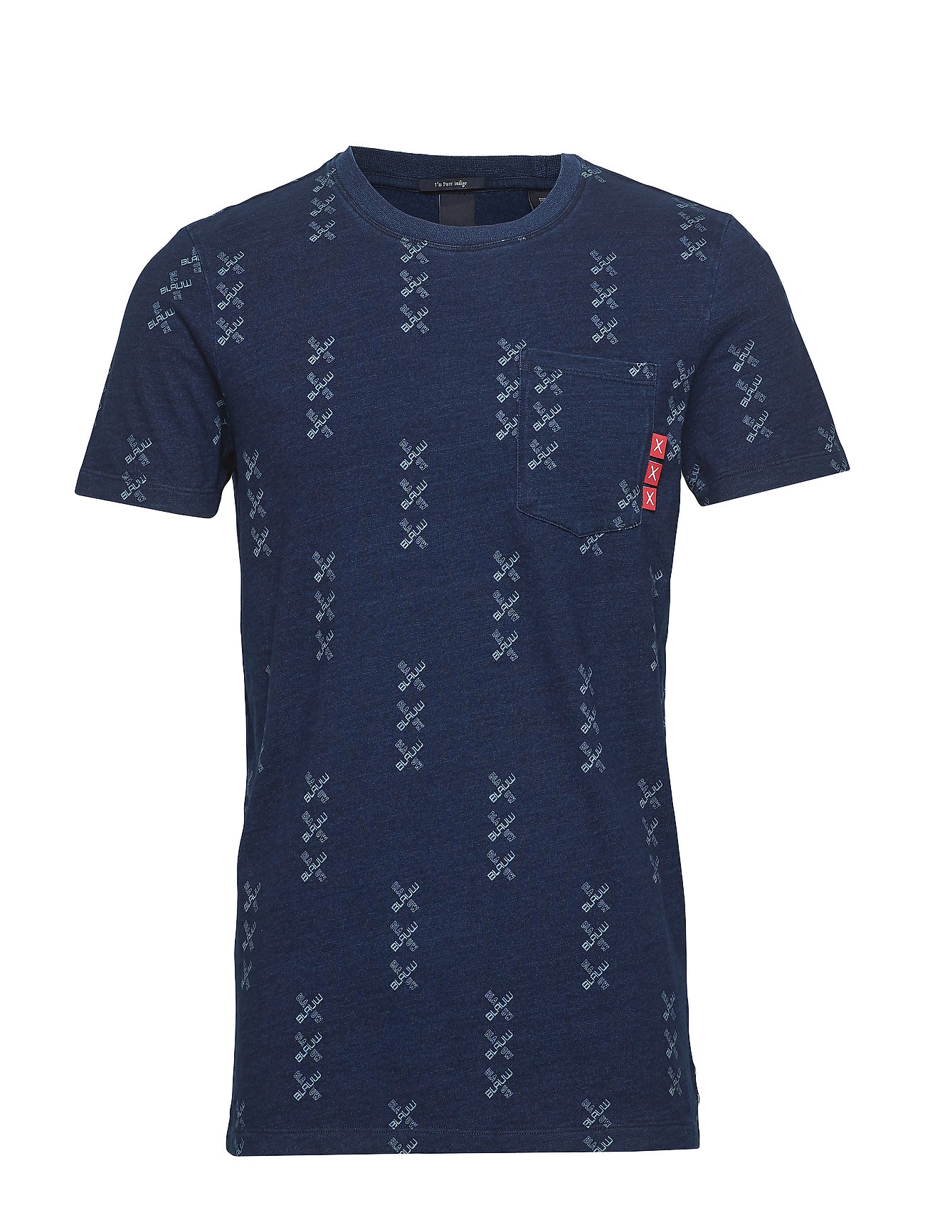 Scotch & Soda Ams Blauw indigo tee with washing and AOP in regular fit - COMBO B