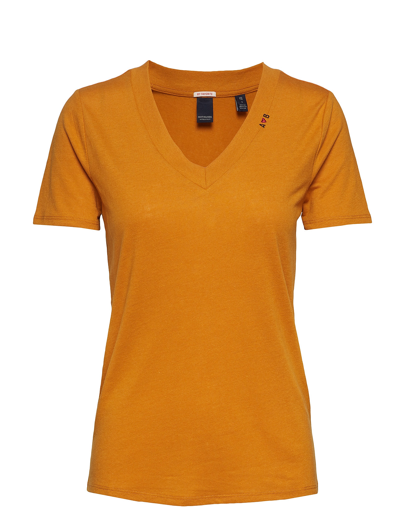 Scotch & Soda Feminine tee with deep V neck in linen mix quality - BURNED ORANGE