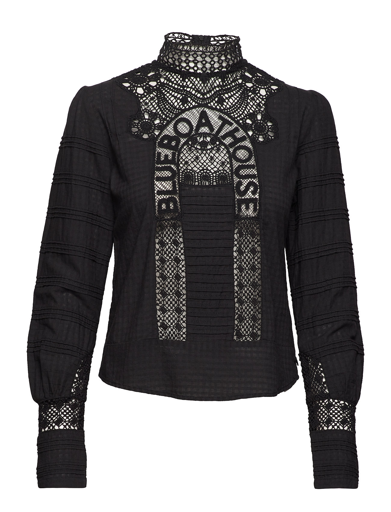 Scotch & Soda Woven top with special lace patch - BLACK