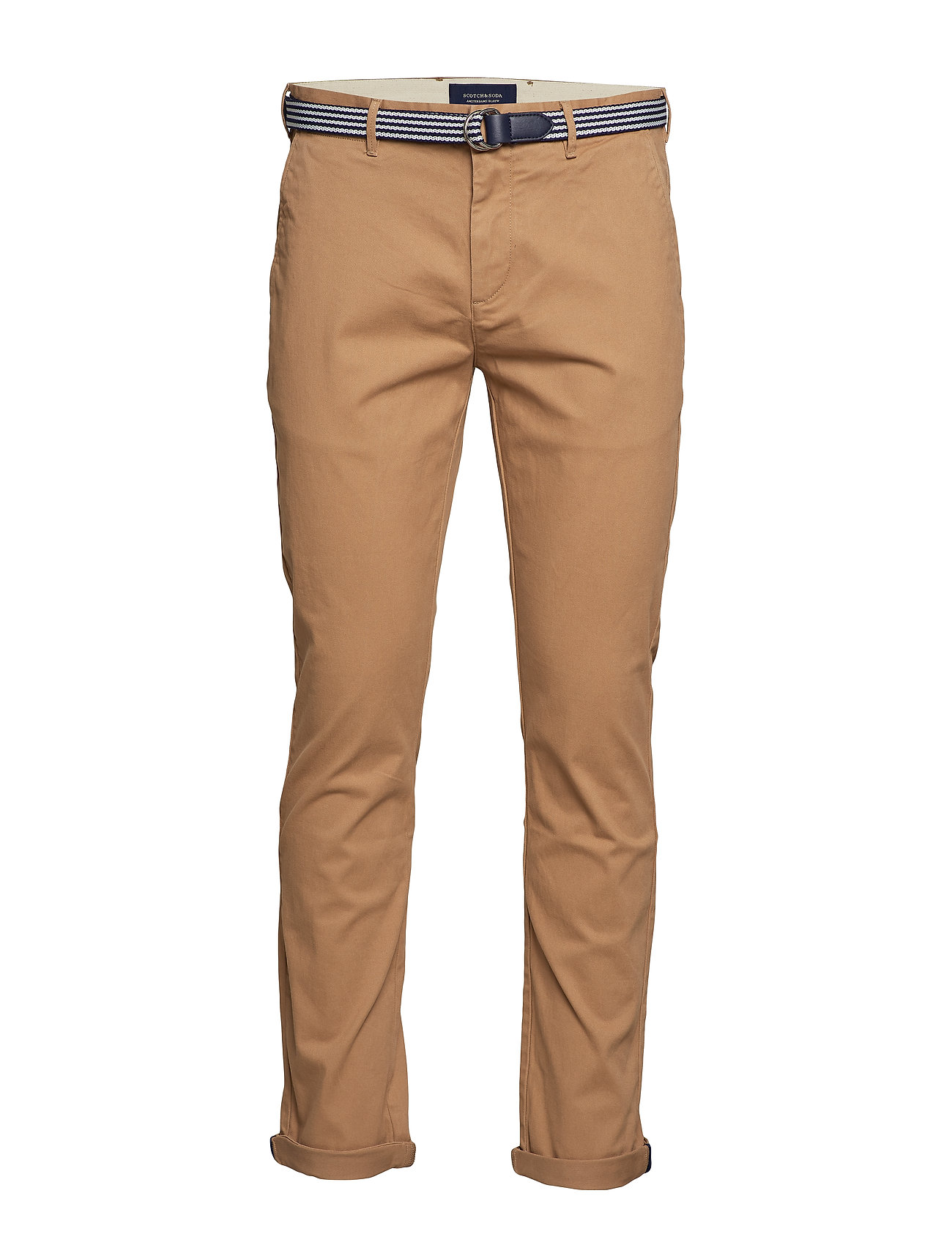 Scotch & Soda Ams Blauw Stuart chino with belt in stretch peached quality - KHAKI