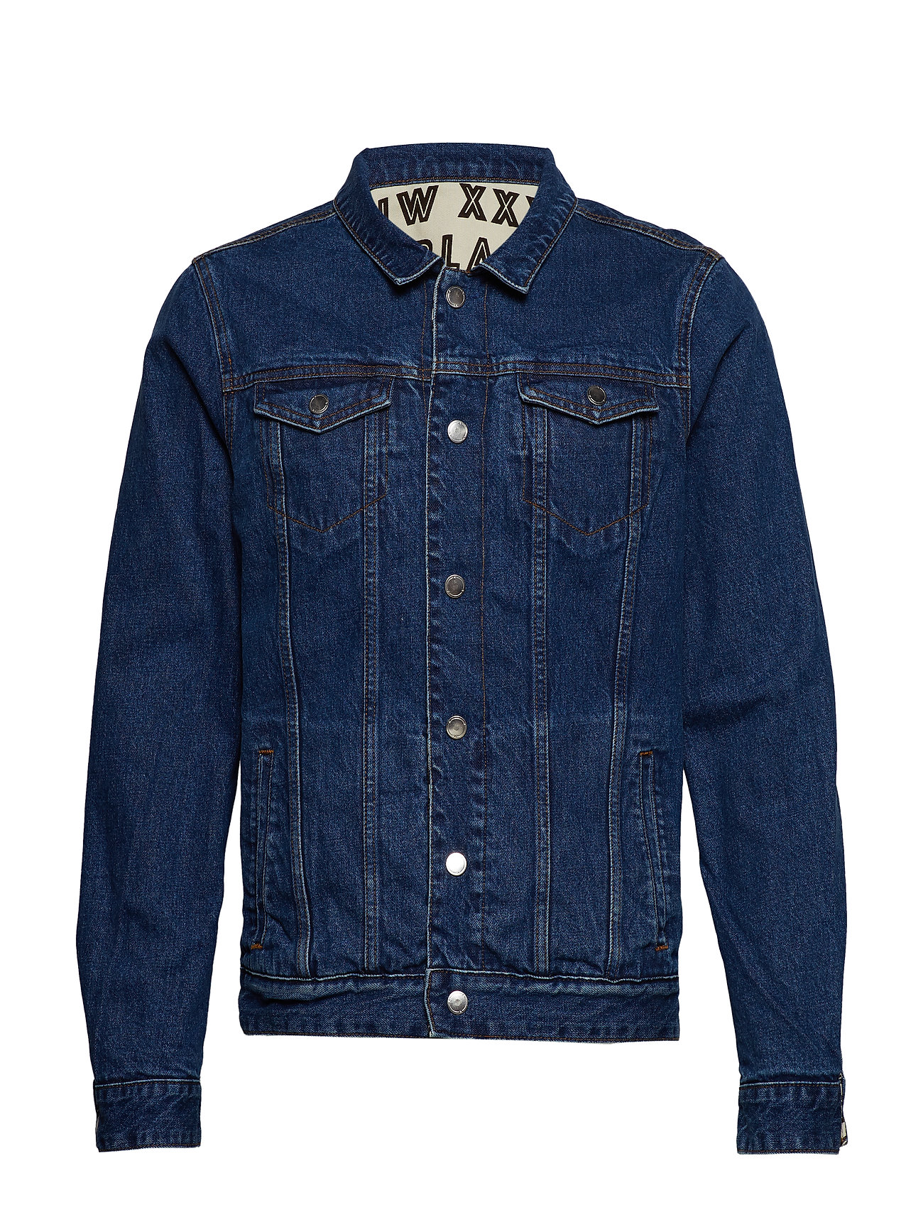 Scotch & Soda Reversible denim and canvas trucker jacket with allover prin - COMBO A