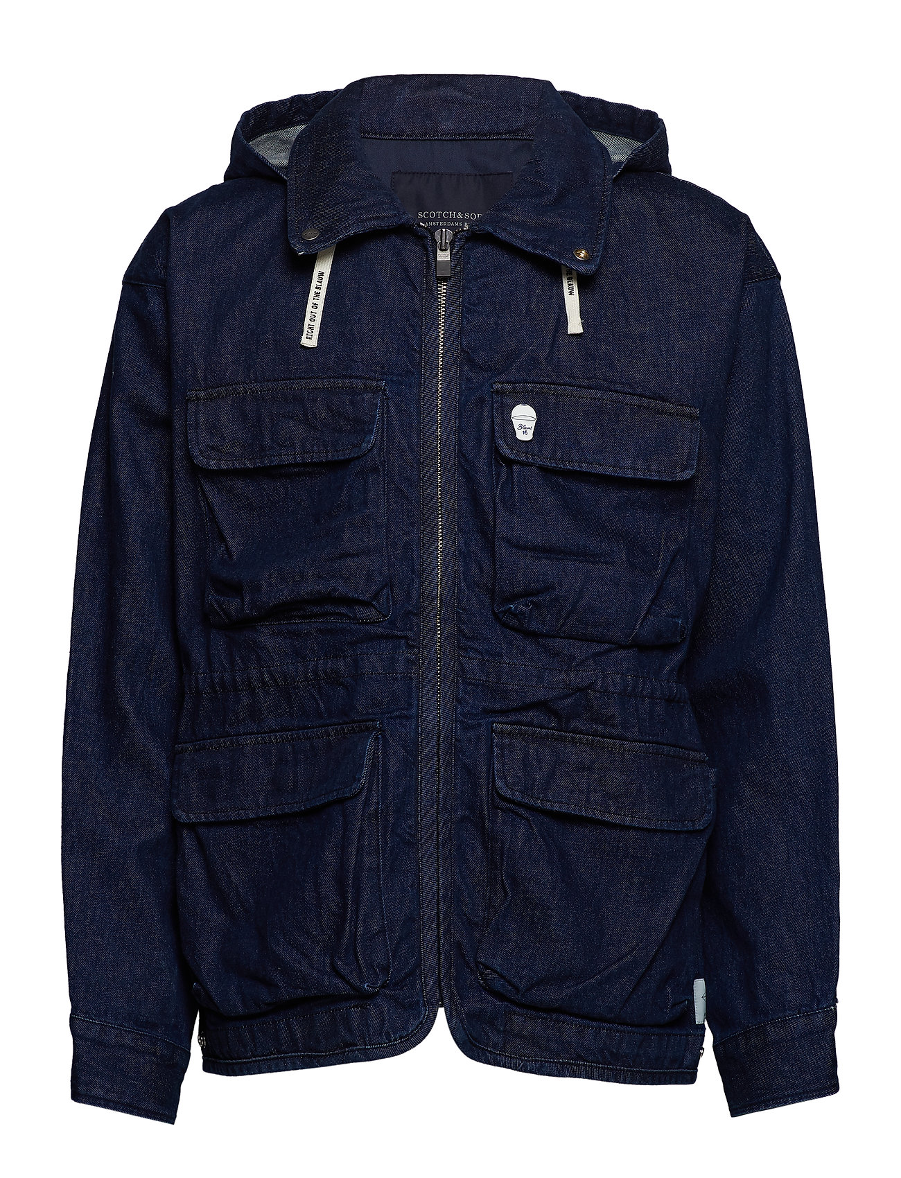 Scotch & Soda Oversized denim parka jacket with hood - DENIM BLUE