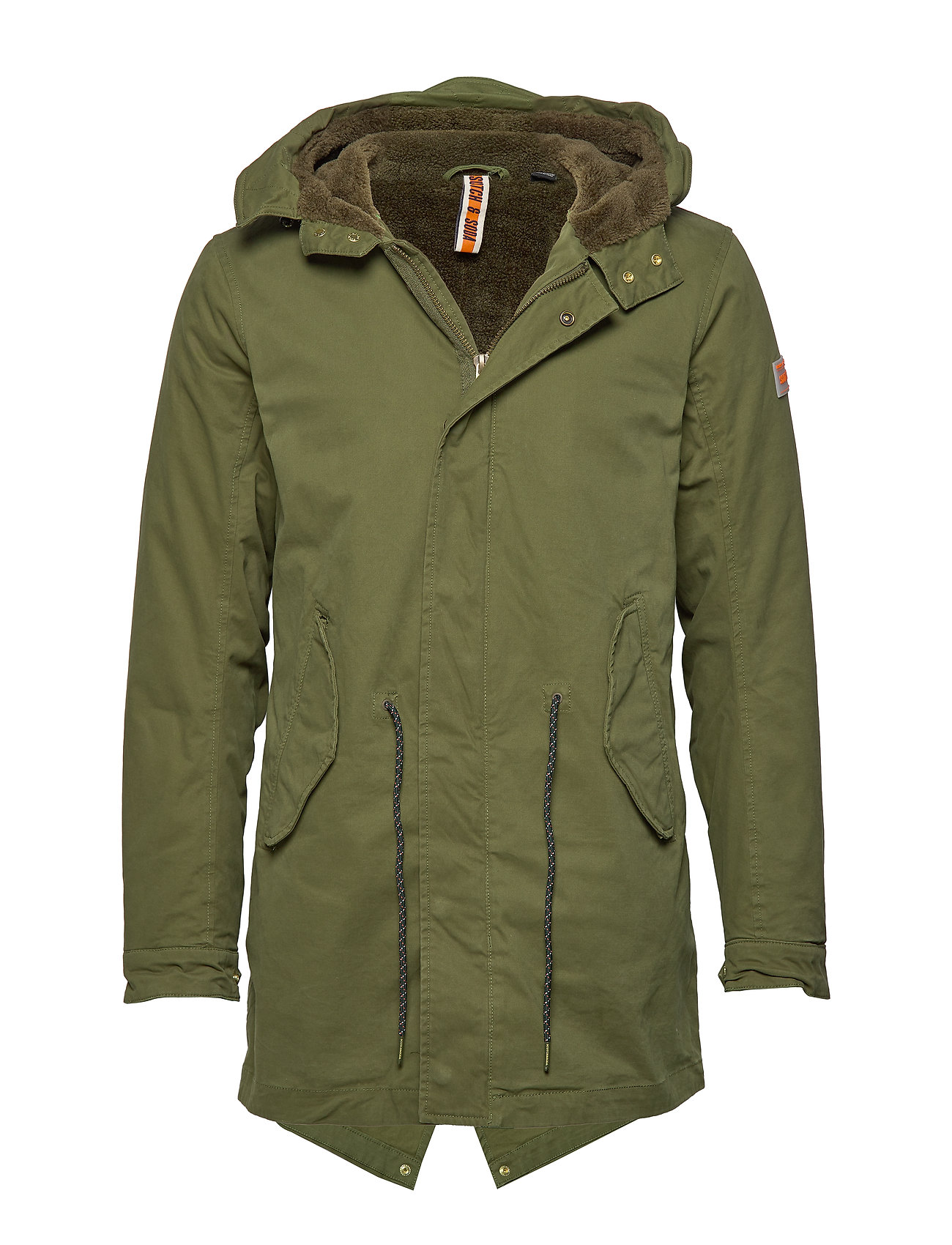 Image of Classic Hooded Parka With Teddy And Mesh Lining Parka Jakke Grøn Scotch & Soda (3252735343)