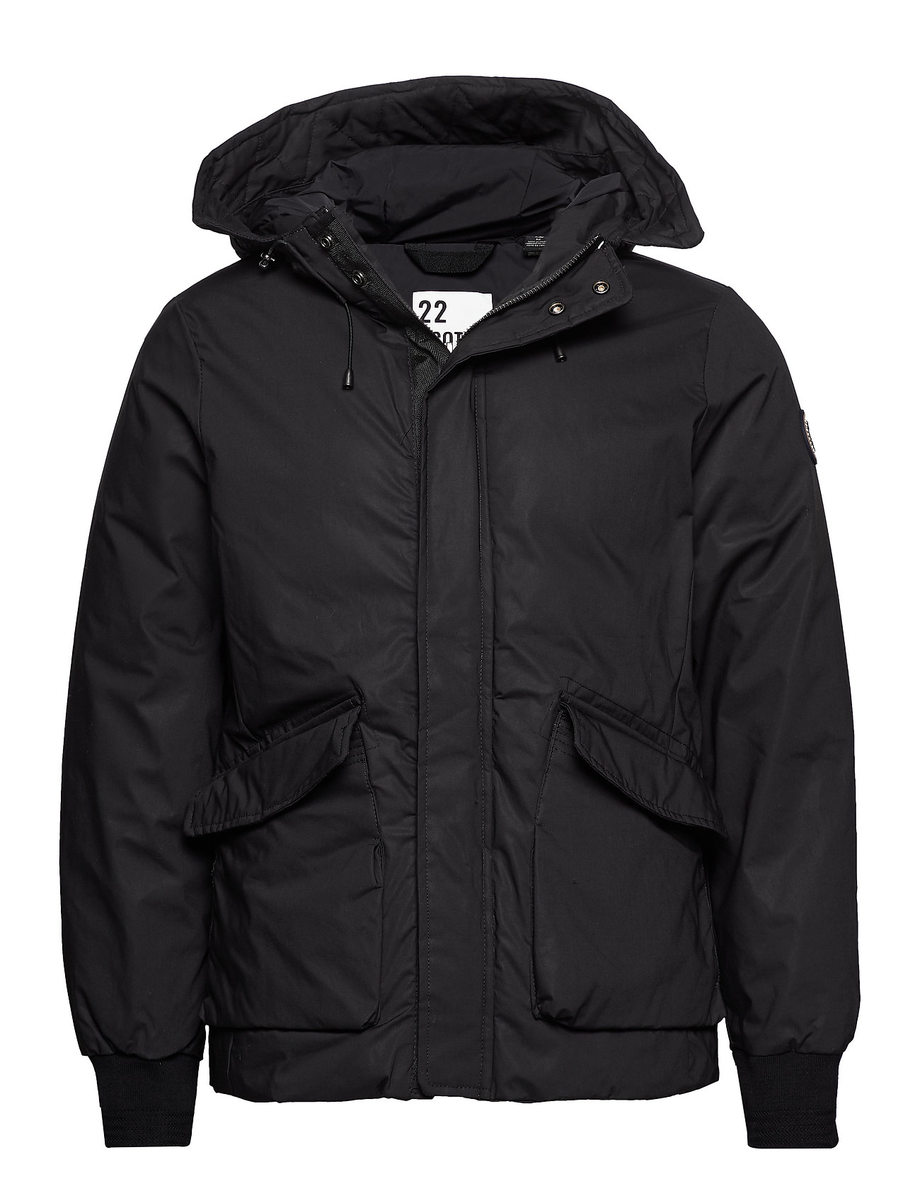 Scotch & Soda Short hooded jacket with inside quilting - BLACK