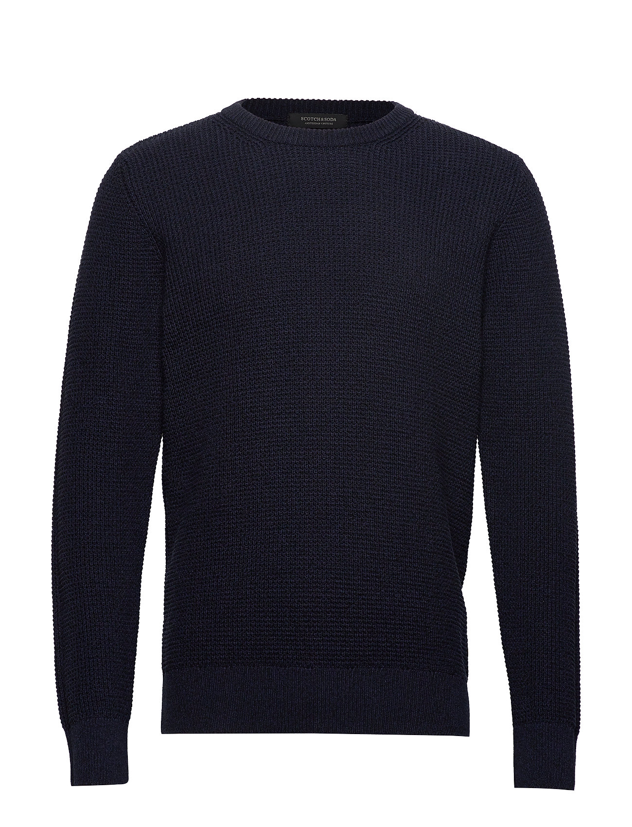 Scotch & Soda Structured crewneck pull in recycled yarns - NIGHT MELANGE