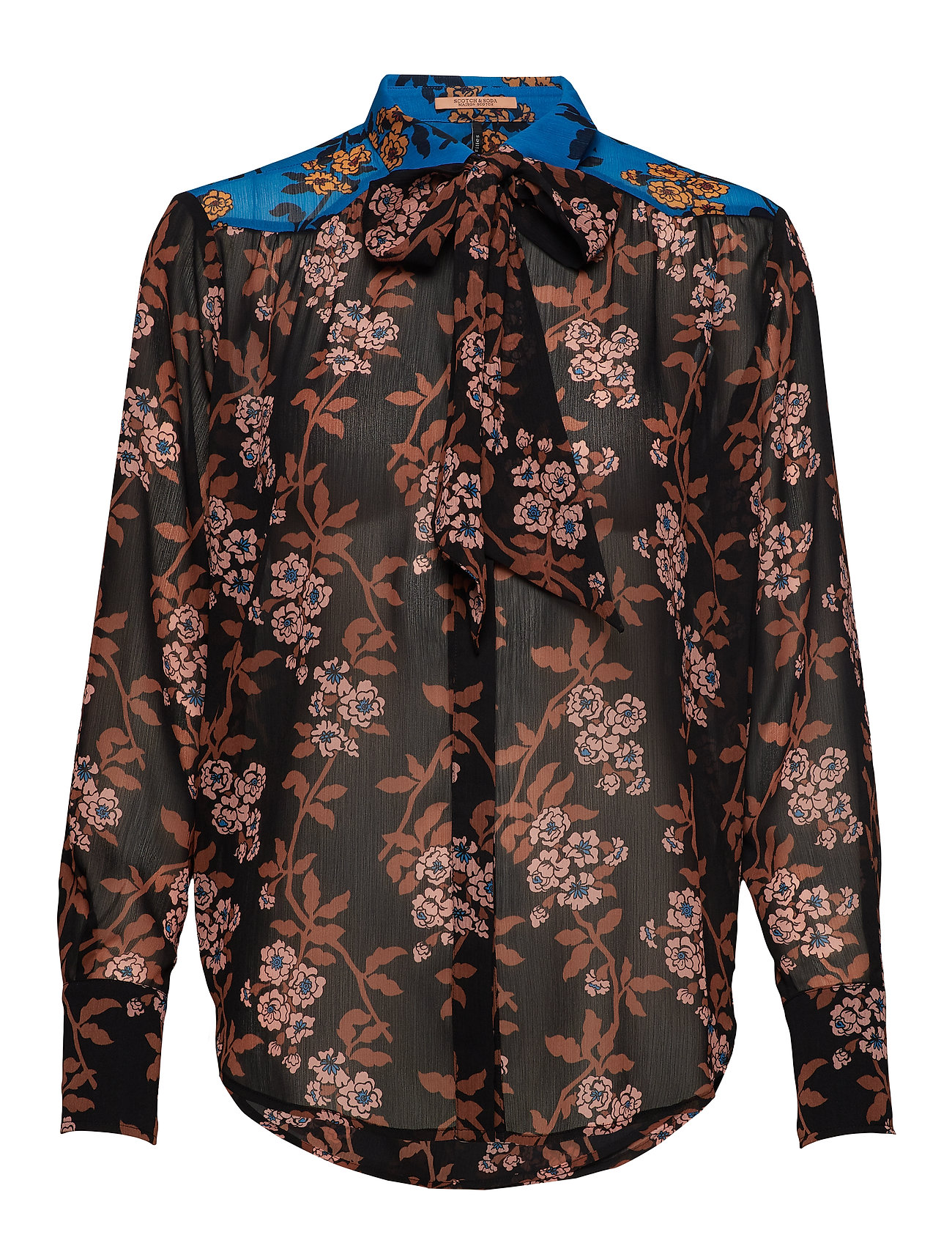 Scotch & Soda Mixed print shirt with tie detail - COMBO F