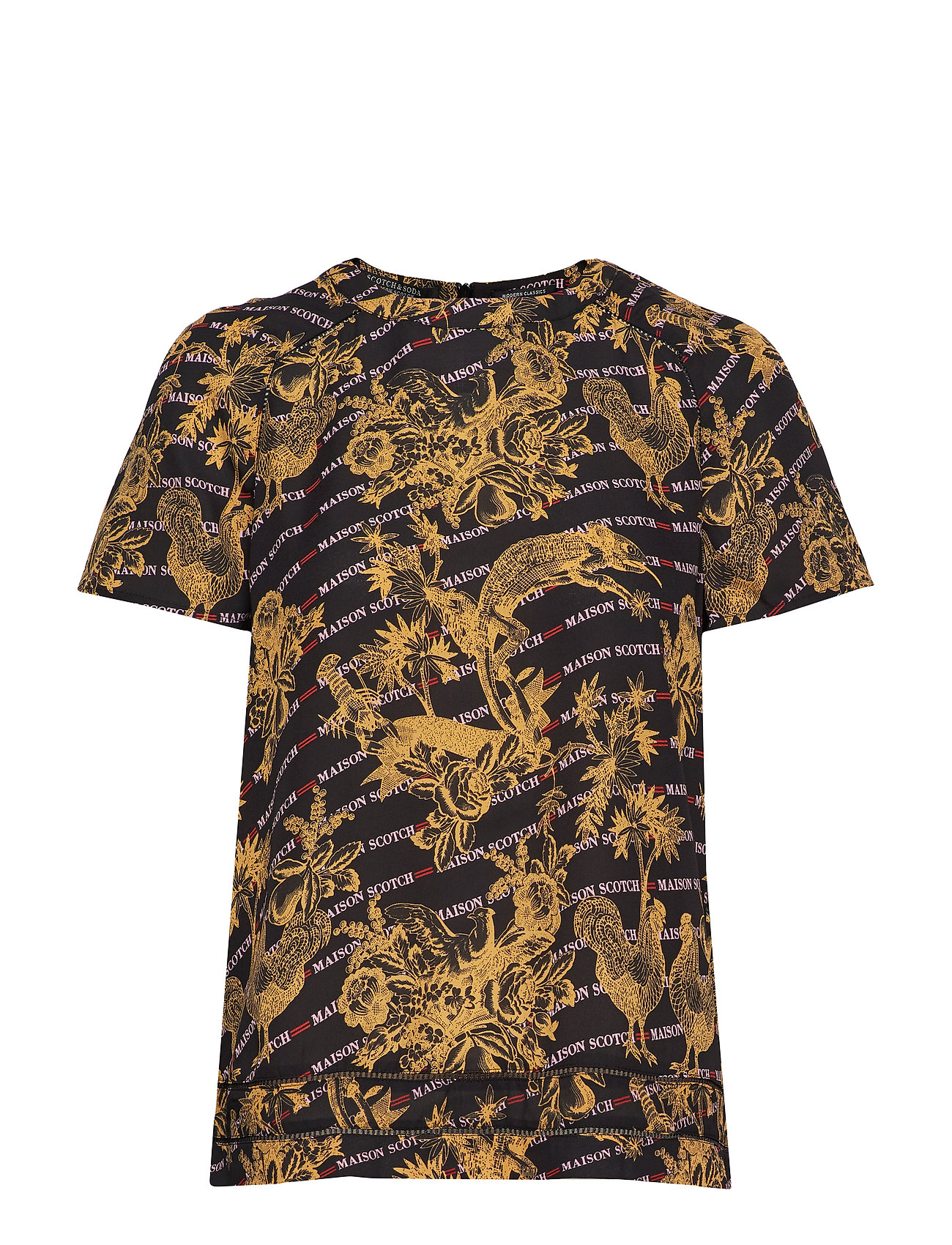 Scotch & Soda Short sleeve printed top with ladder inserts - COMBO A
