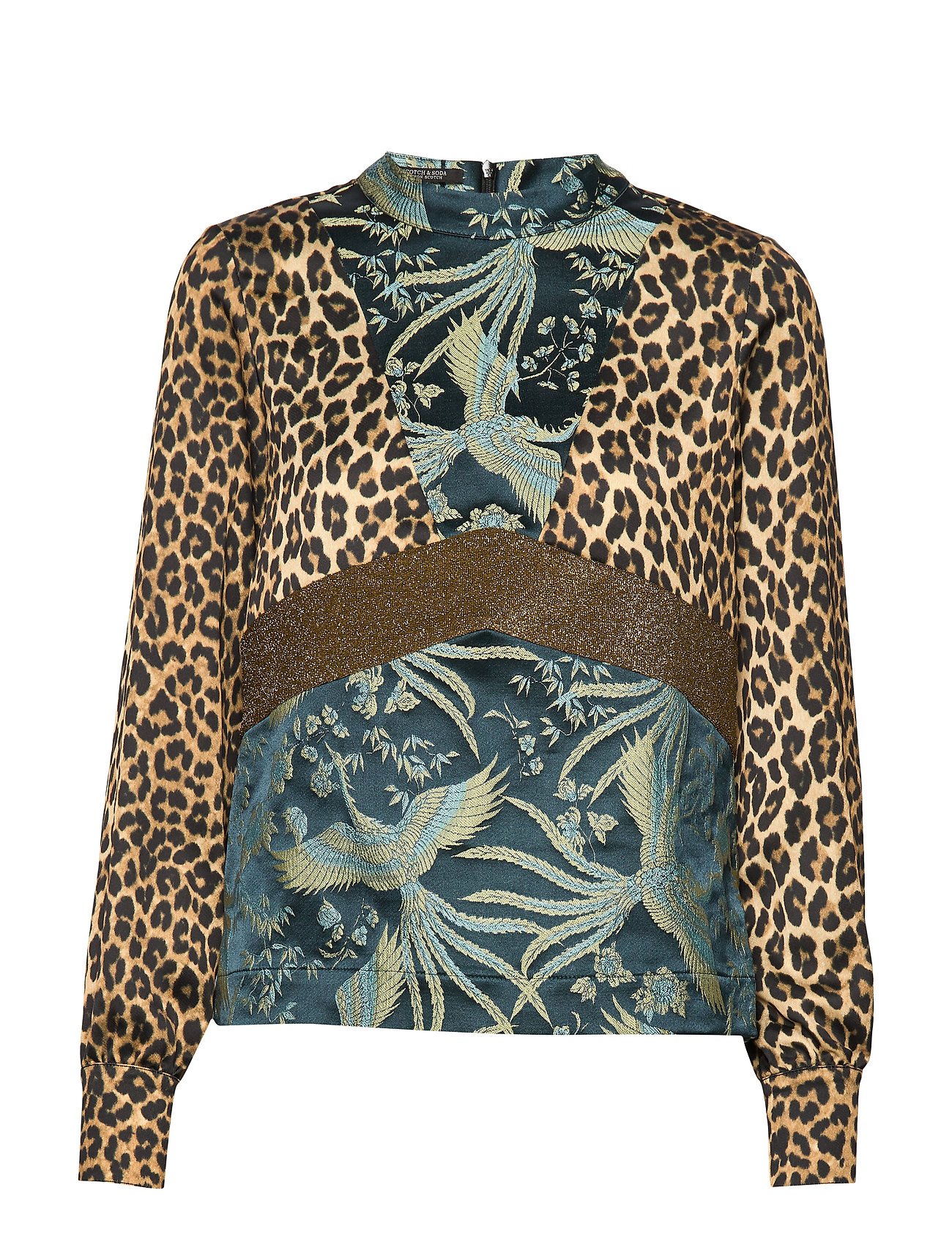 Scotch & Soda High neck top in mixed prints - COMBO F