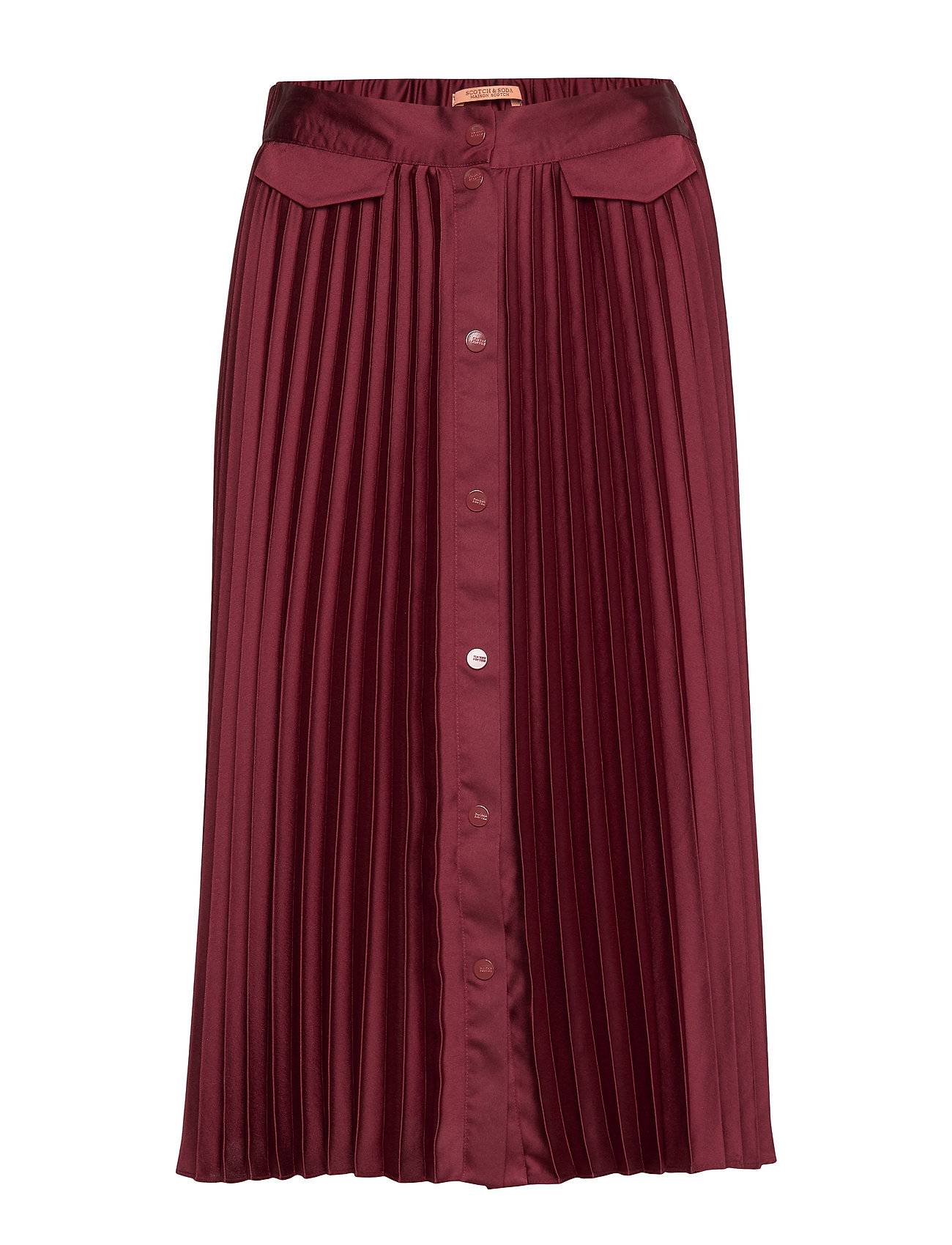 Scotch & Soda Pleated midi skirt with placket - AUBERGINE