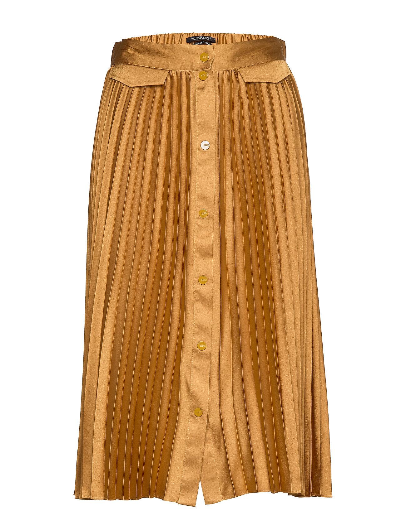 Scotch & Soda Pleated midi skirt with placket - HONEY