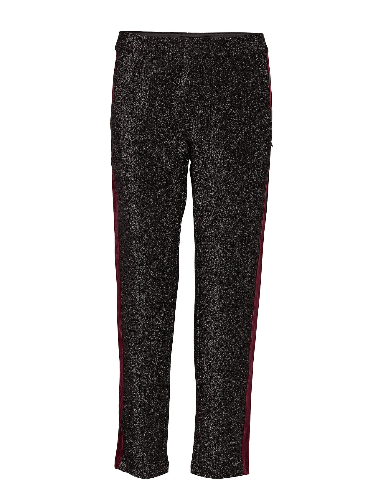 Scotch & Soda Tapered lurex pants with velvet side panel - BLACK