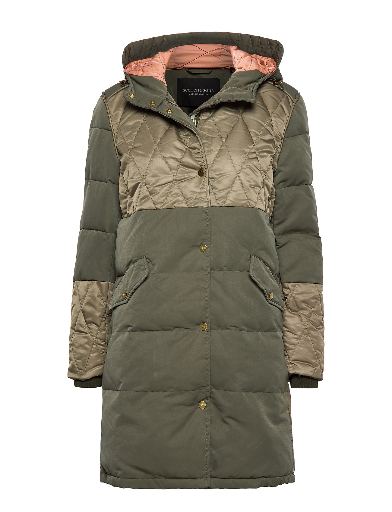 Scotch & Soda Mixed fabric parka jacket with quilting details - MILITARY