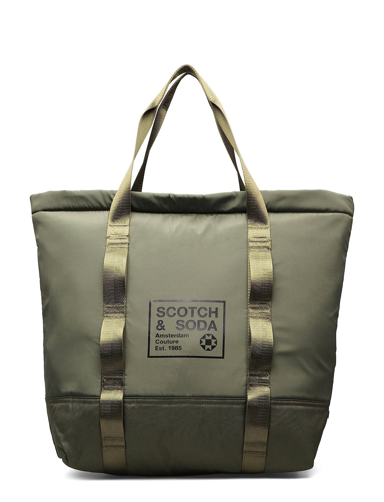 Scotch & Soda Padded shopper with logo print - ARMY