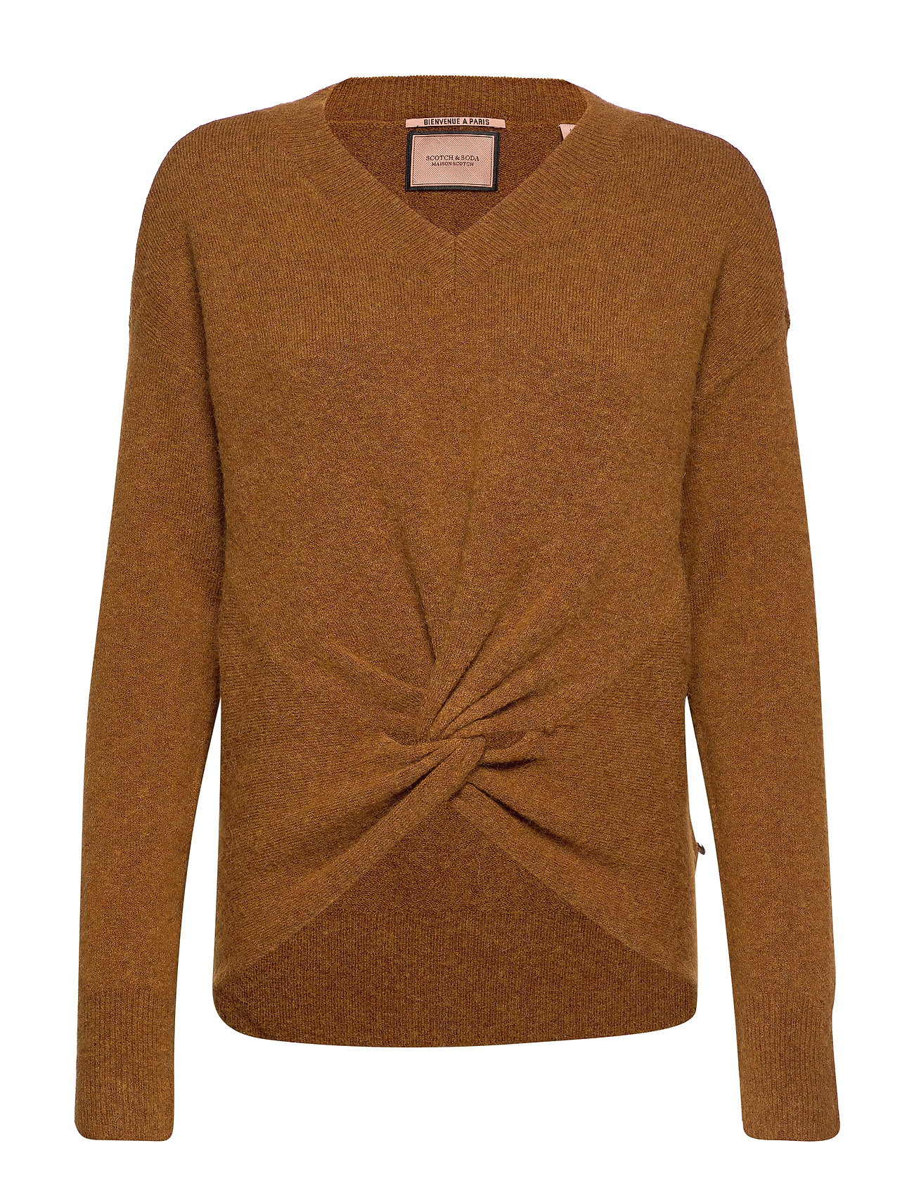 Scotch & Soda Crewneck knit with knot detail at hem - CAMEL MELANGE