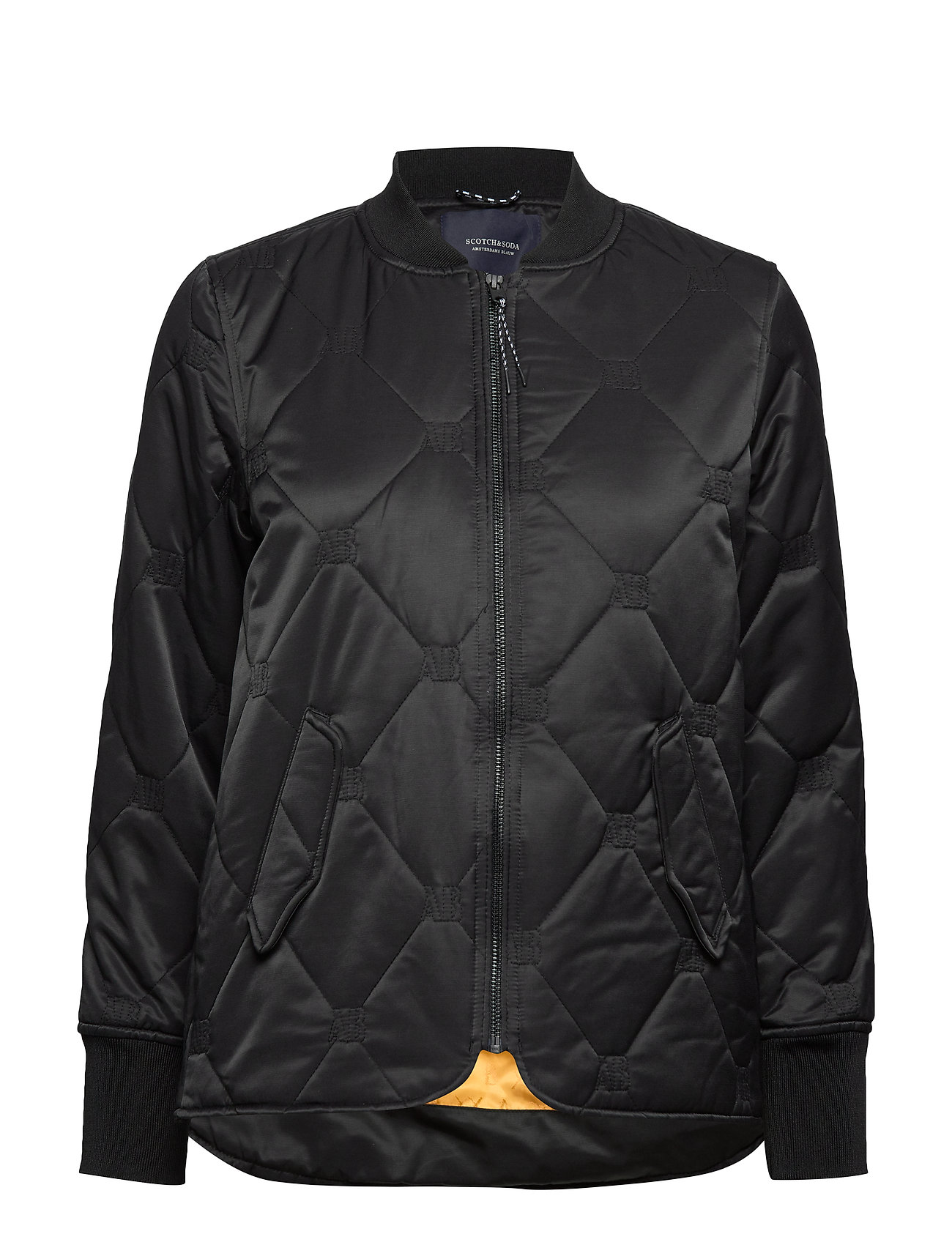 Scotch & Soda Easy straight fit bomber with special quilting - BLACK