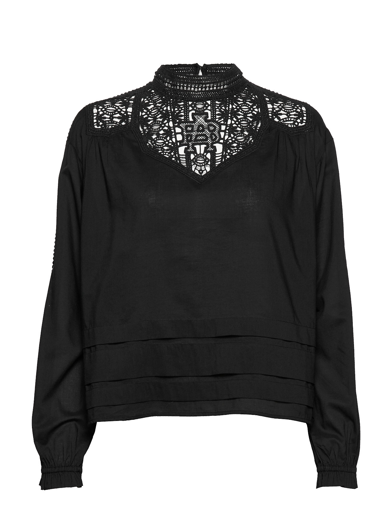 Scotch & Soda Feminine drapey top with special lace detailing - BLACK