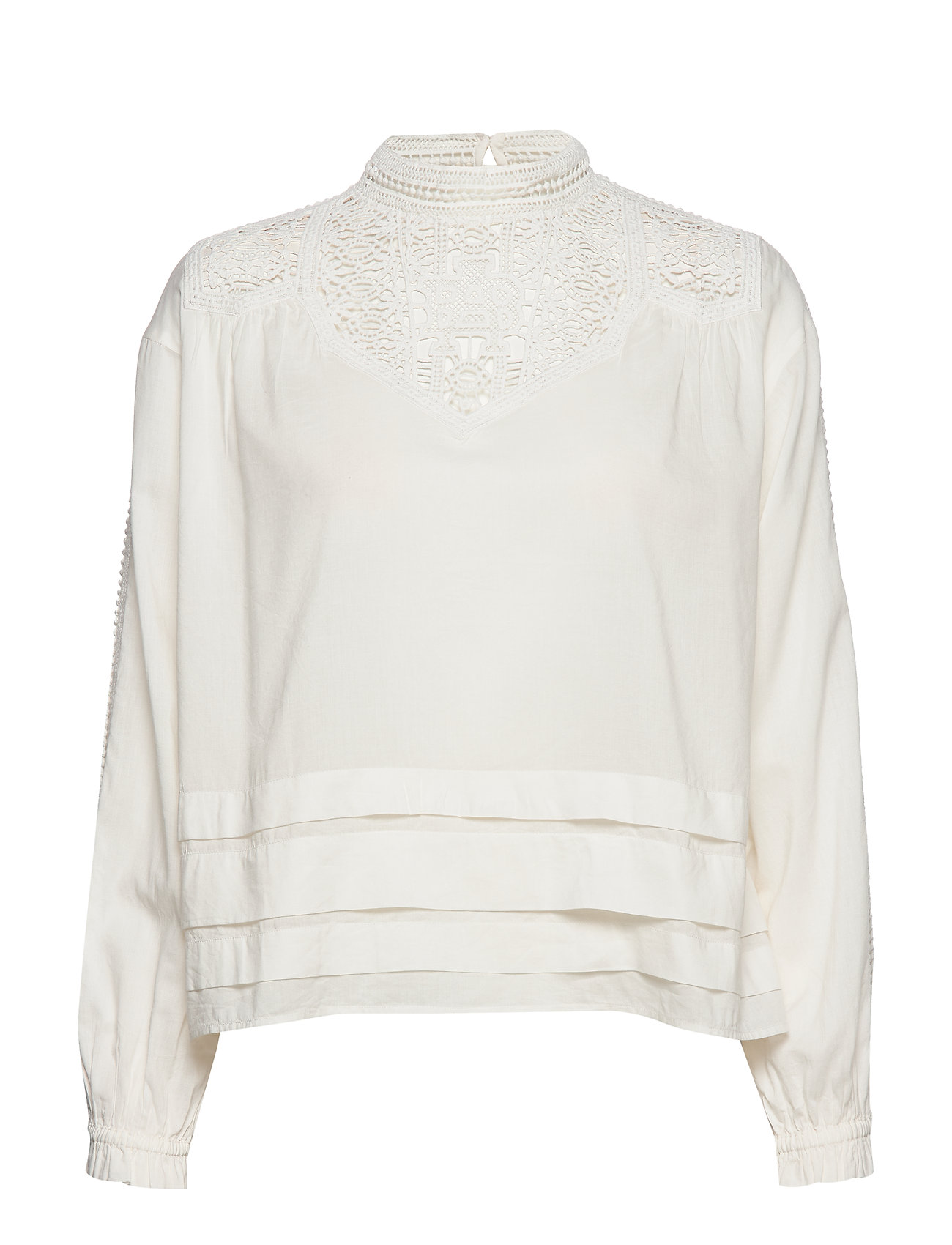 Scotch & Soda Feminine drapey top with special lace detailing - OFF WHITE