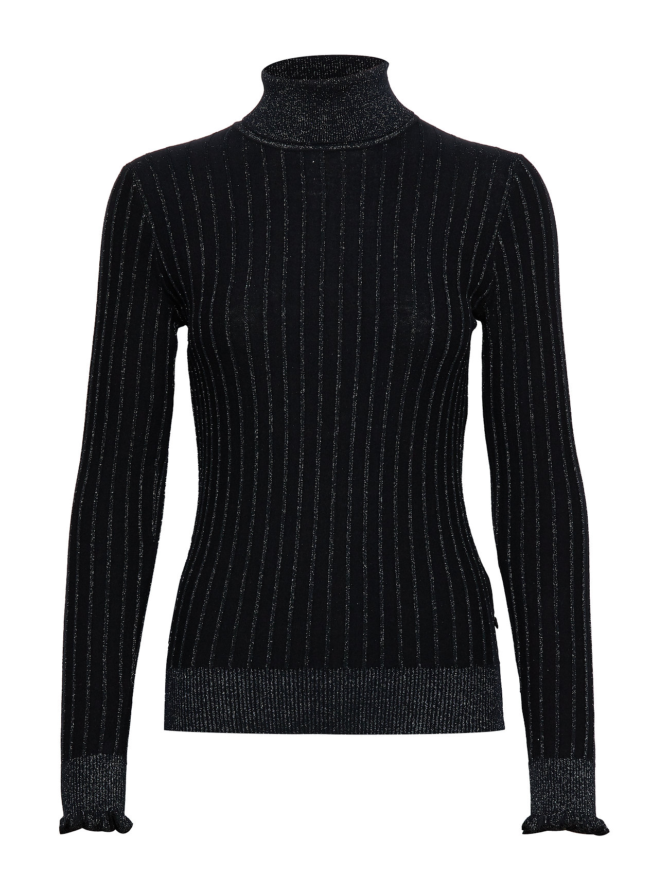 Scotch & Soda Turtle neck in knitted rib with details - NIGHT