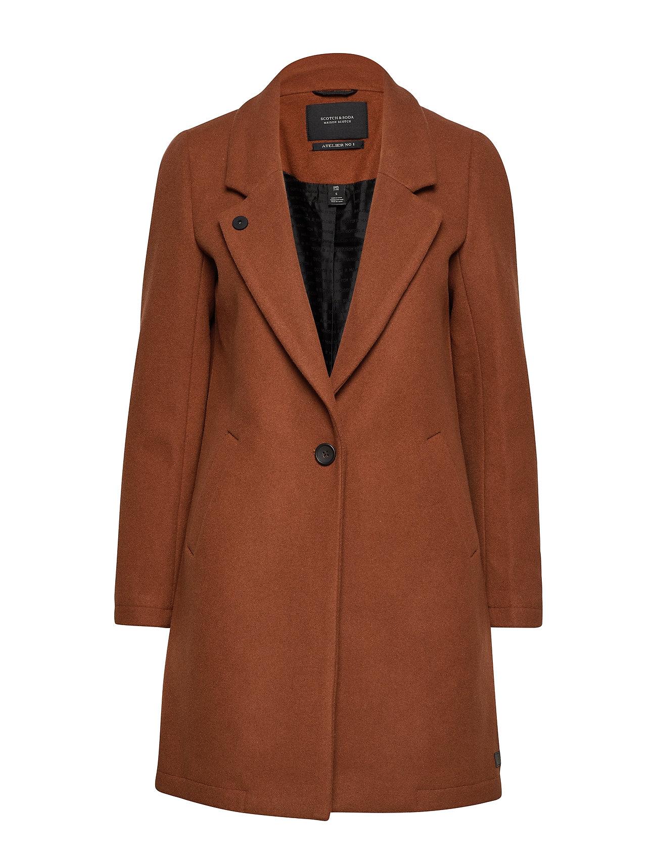 Scotch & Soda Classic tailored coat with half lining - CEDAR WOOD
