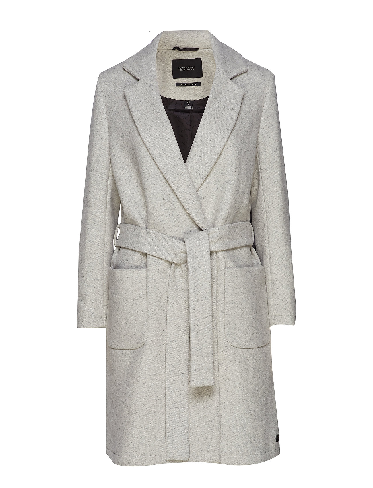 Scotch & Soda Wool wrap coat with belt - GREY MELANGE
