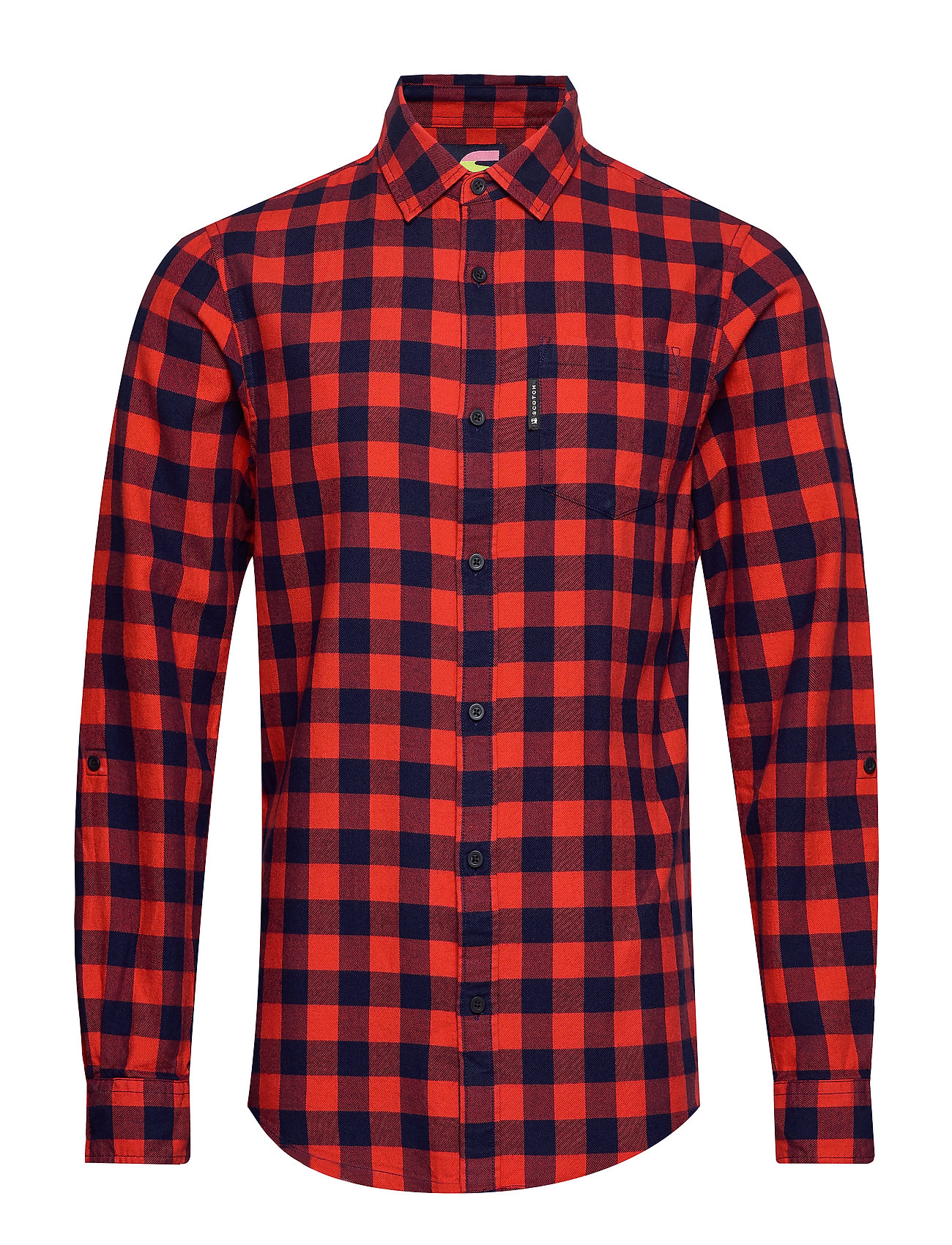 Scotch & Soda REGULAR FIT- Bright check flannel shirt with sleeve roll-up - COMBO A