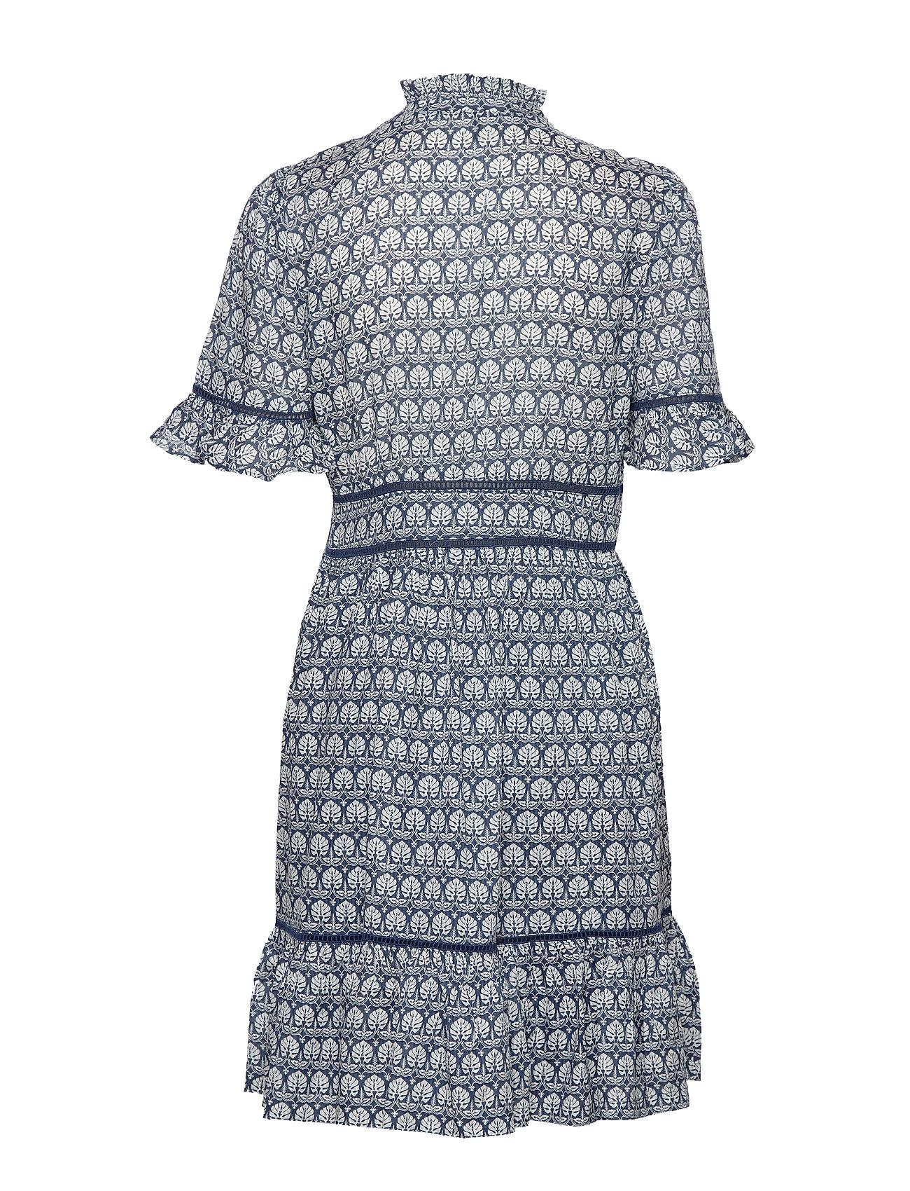 printed dress with ladder lace kurzes kleid blau scotch