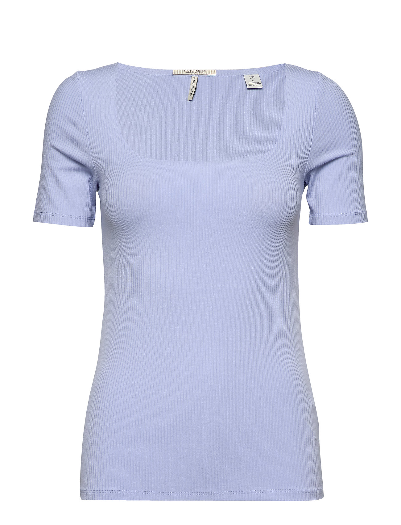 Scotch & Soda Fitted square neck rib tee - SKY BLUE