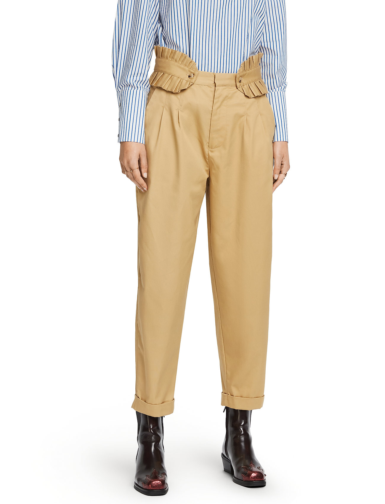 Scotch & Soda - Clean twill chino with detachable pleated belt - chinos - sand - 0