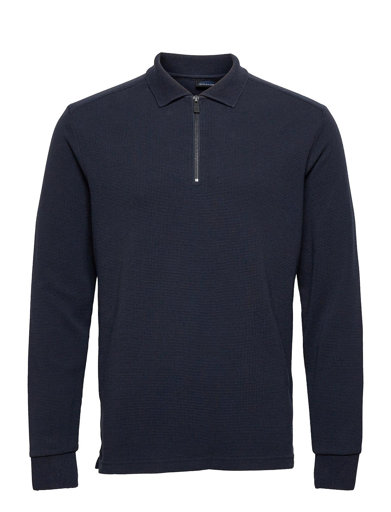 Longsleeve Knitted Polo Knitwear Half Zip Jumpers Blå Scotch & Soda