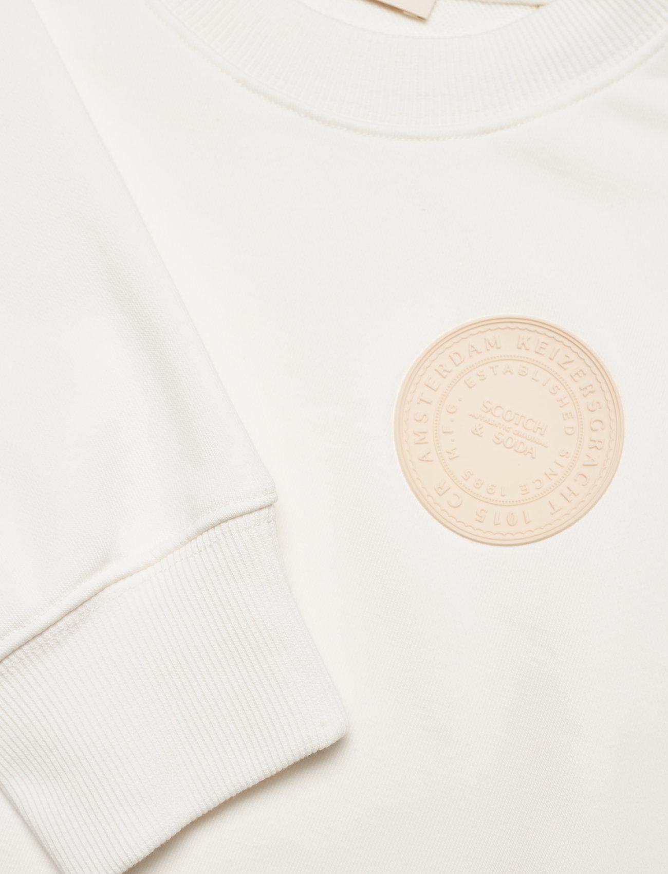 Scotch & Soda - Organic cotton blend felpa crewneck sweat with logo print - podstawowe bluzy - denim white - 2